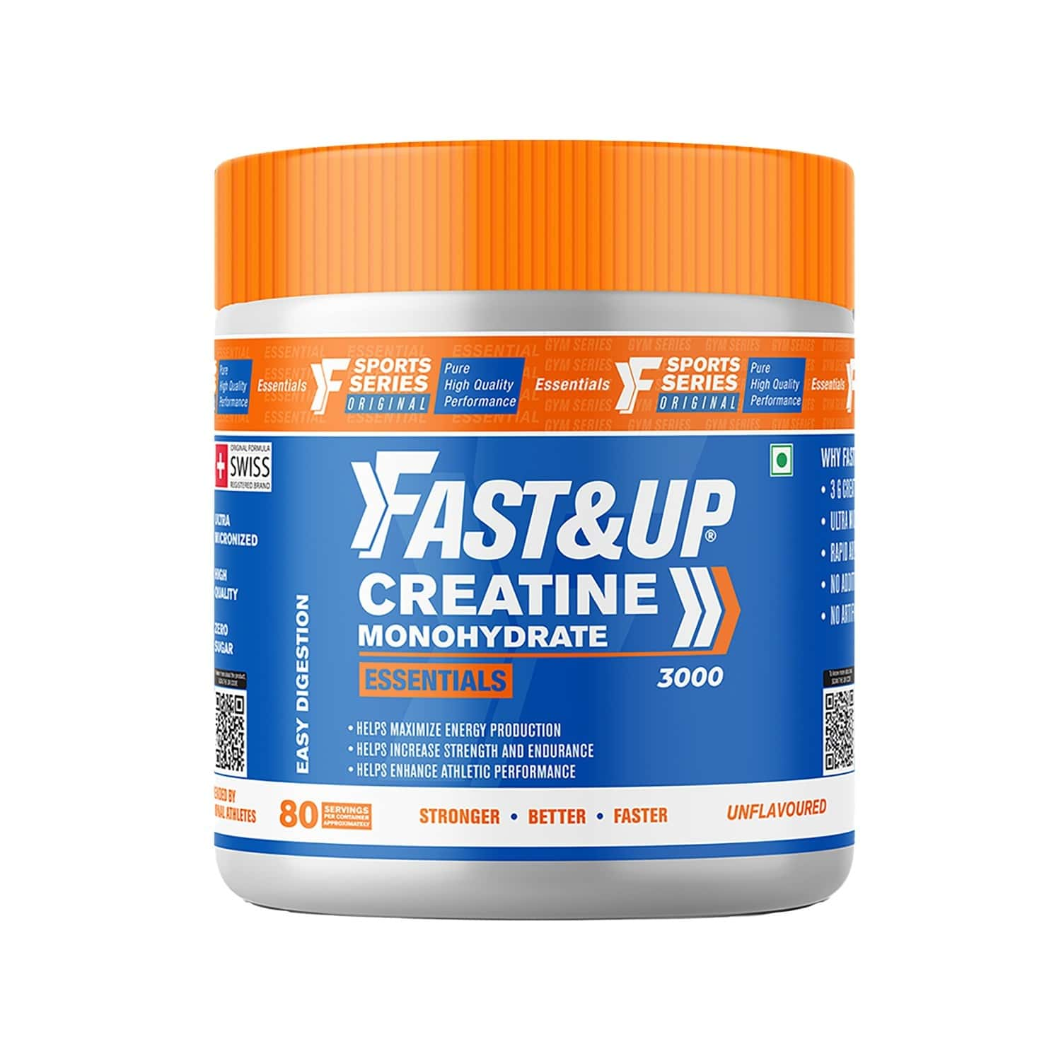 Fast&up Creatine Monohydrate Essentials-for Longer Workout,muscle Recovery-80 Serving(unflavored)
