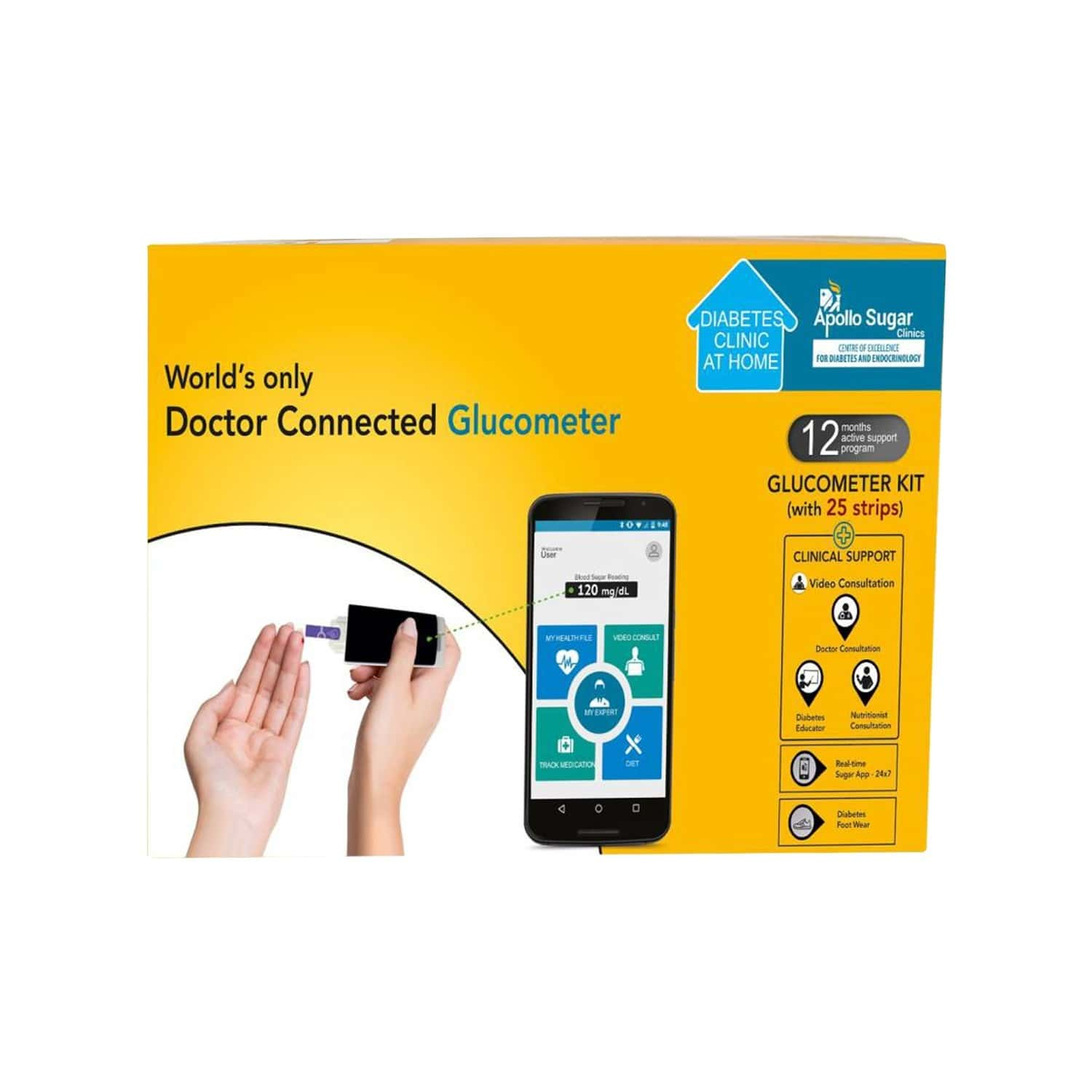 Apollo Sugar Smart Glucometer Premium Home Care Kit + Free Pair Of Health Socks & Video Consultation With Diabetic Experts
