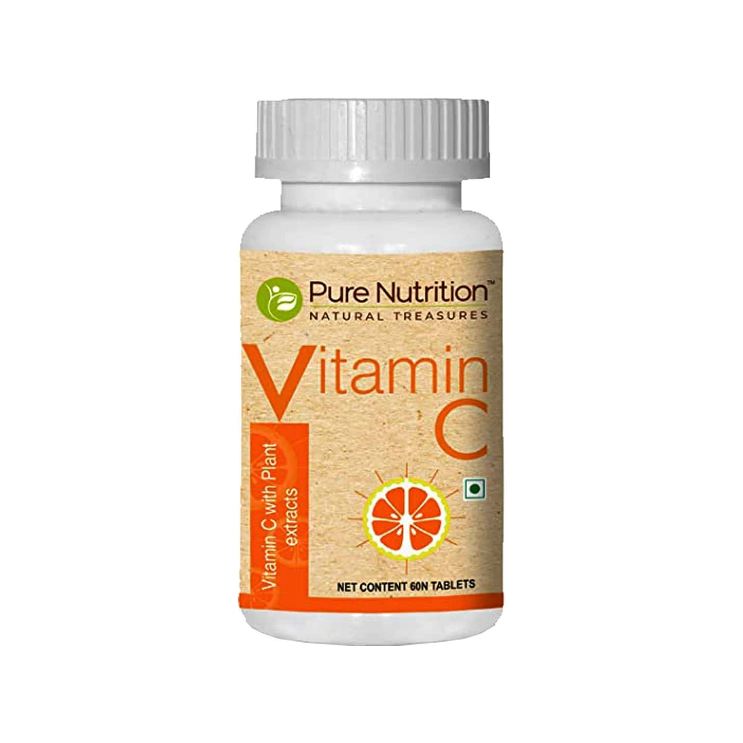 Pure Nutrition Vitamin C 1250mg/serve With Natural Amla And Orange Peel Extract, Antioxidants Rich With Immunity Support - 60 Tablets