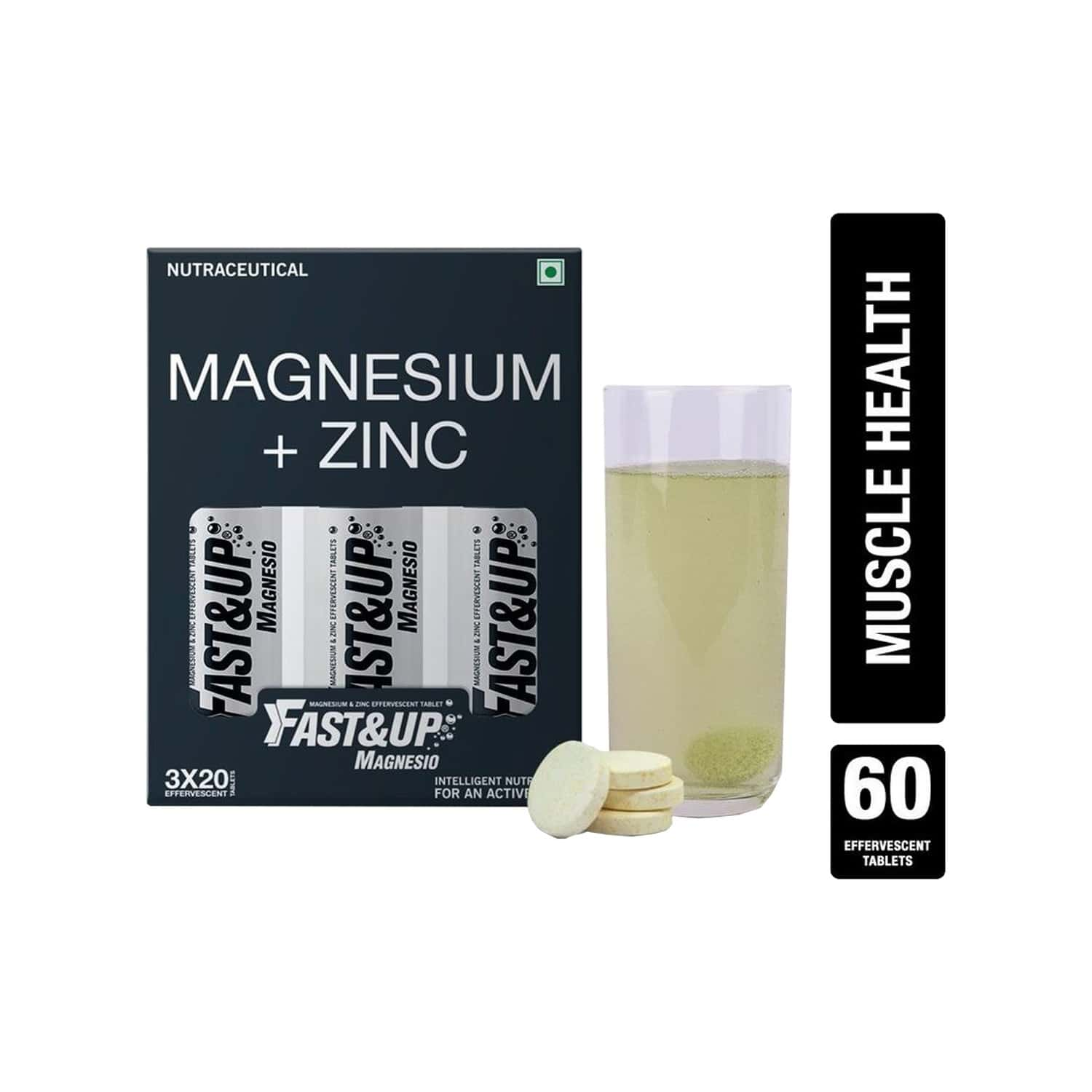 Fast&up Magnesio Lime & Lemon Effervescent Tablets Bottle Of 60