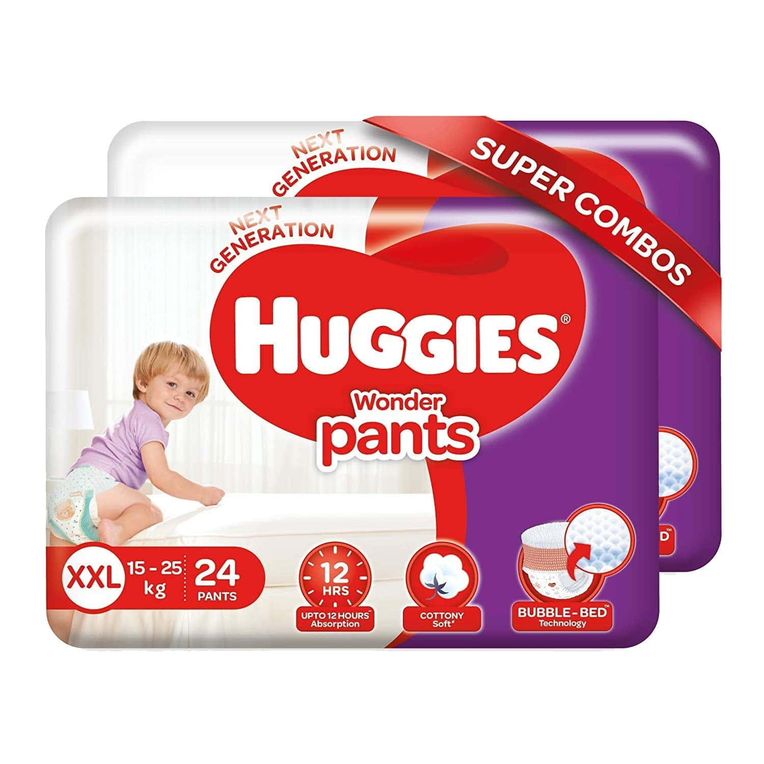 Huggies Wonder Pants Double Extra Large Size Diapers Combo Pack Of 2, 24 Counts Per Pack (48 Count)