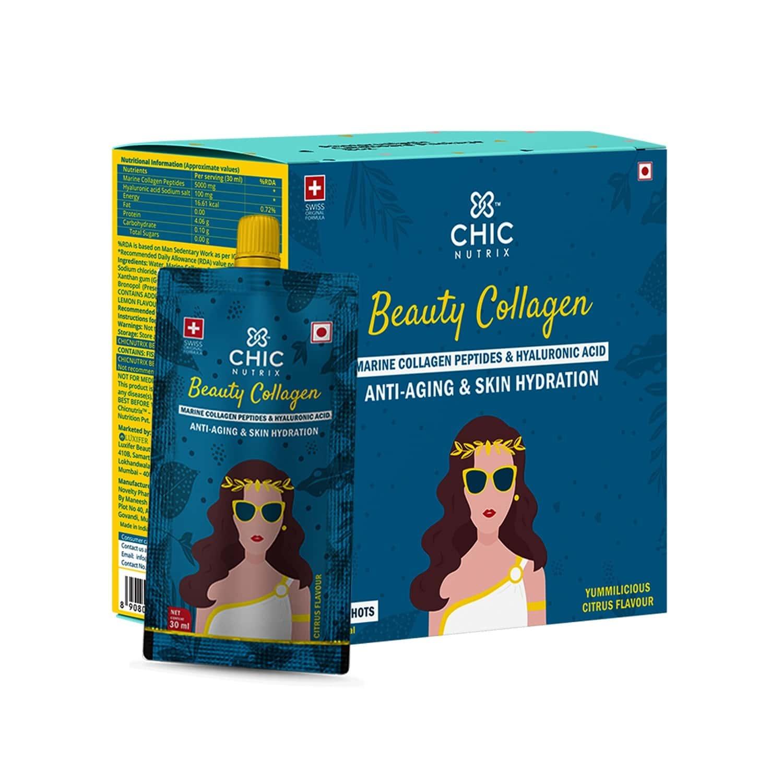Chicnutrix Beauty Collagen - Marine Collagen Peptides & Hyaluronic Acid - Anti-aging & Skin Hydration - 500 G