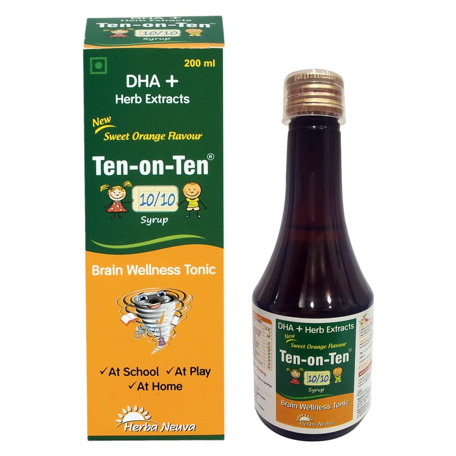 Herba Neuva Ten-on-ten Syrup Veg Omega-3 (dha) With Herb Extracts.supports Brain Function-1x200ml