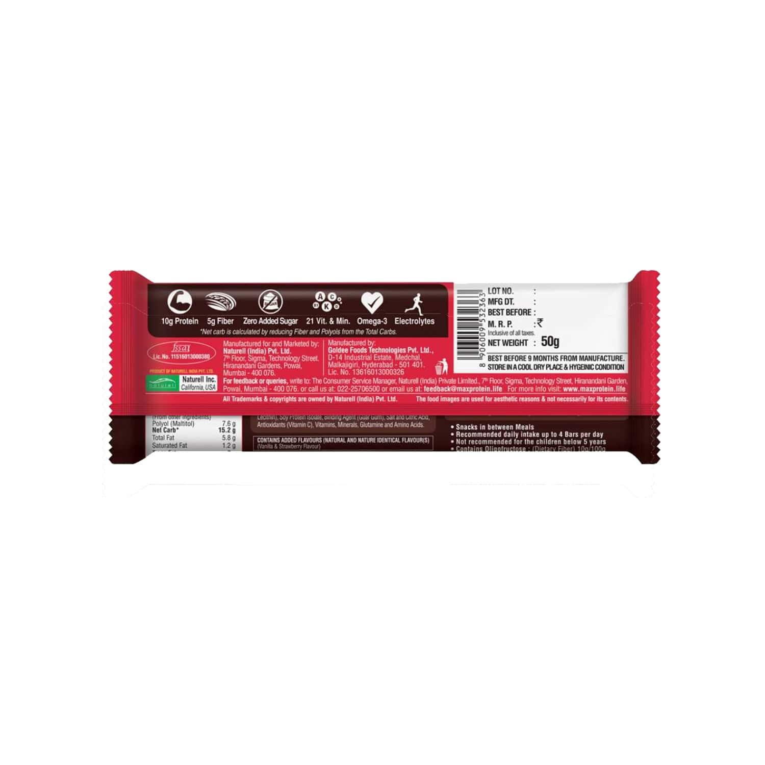 Ritebite Max Protein Daily Choco Berry Nutrition Bar Packet Of 50 G