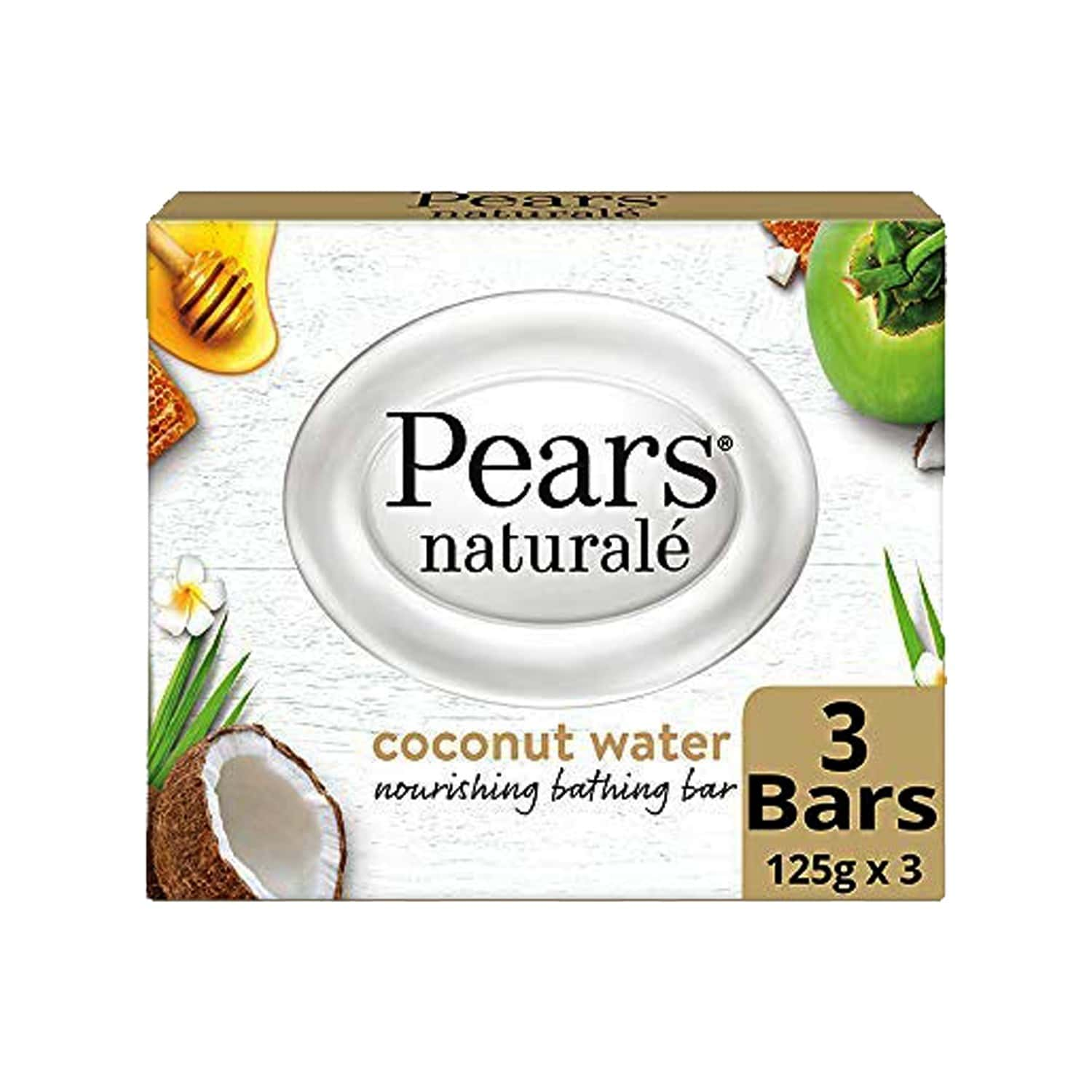 Pears Natural Coconut Nourishing Soap Bar - 125 G (pack Of 3)