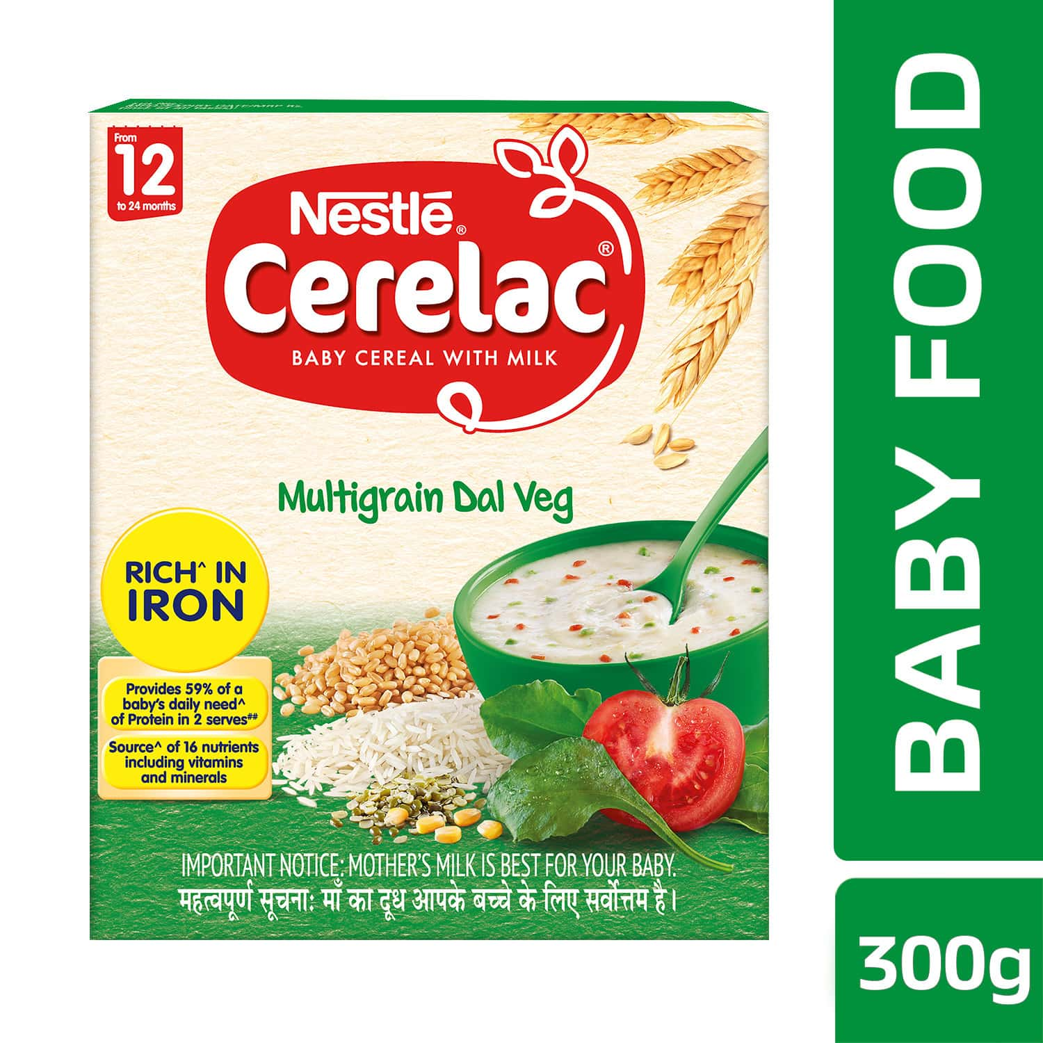 Nestle Cerelac Baby Cereal With Milk Multigrain Dal Veg Baby Food (from 12 Months) Box Of 300 G