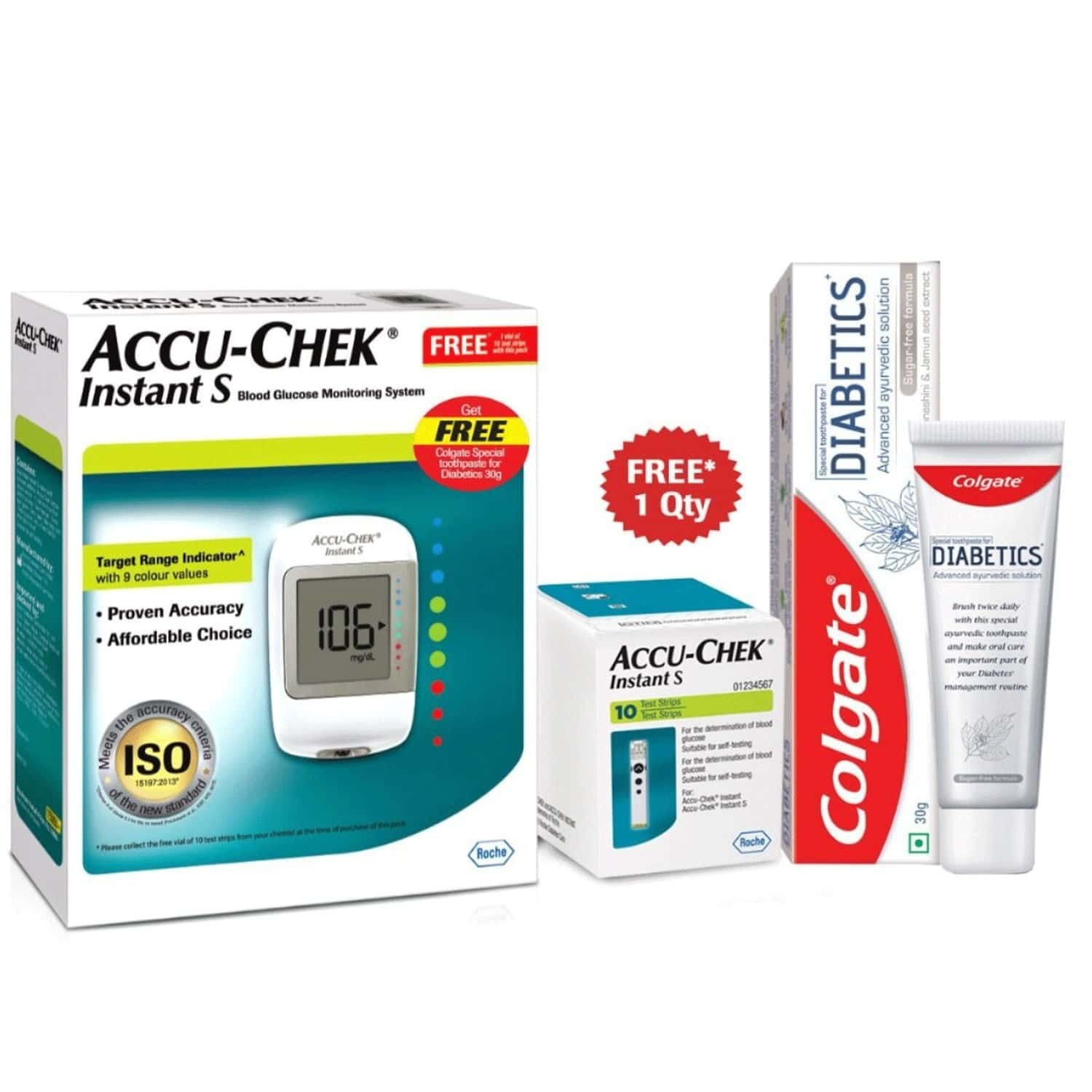 Accu-chek Instant S Glucometer With 10 Strips With Free 30gm Pack Of Colgate Diabetics Toothpaste