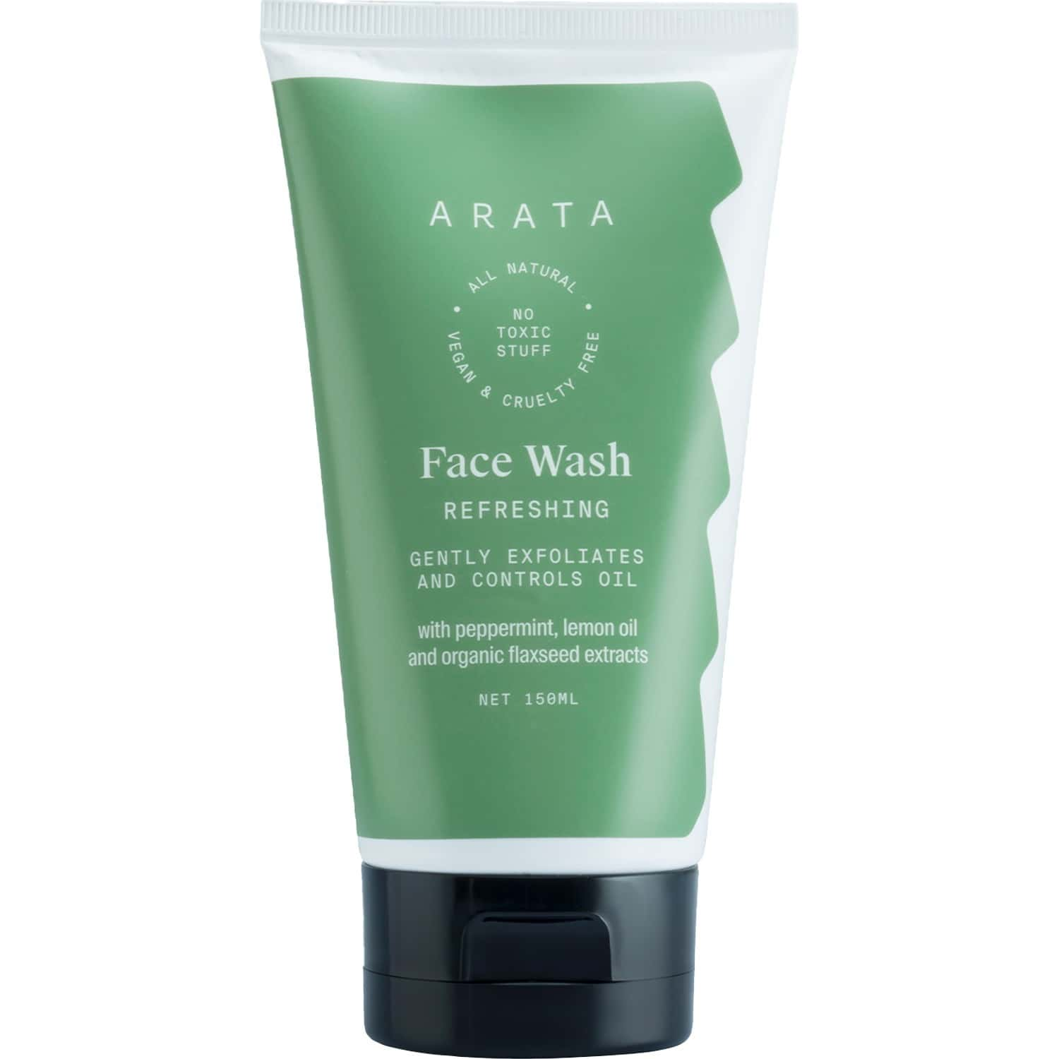 Arata Natural Refreshing Face Wash With Peppermint, Lemon Oil & Organic Flaxseed    All-natural, Vegan & Cruelty-free    Gently Exfoliates & Controls Oil For Women & Men - (150 Ml)