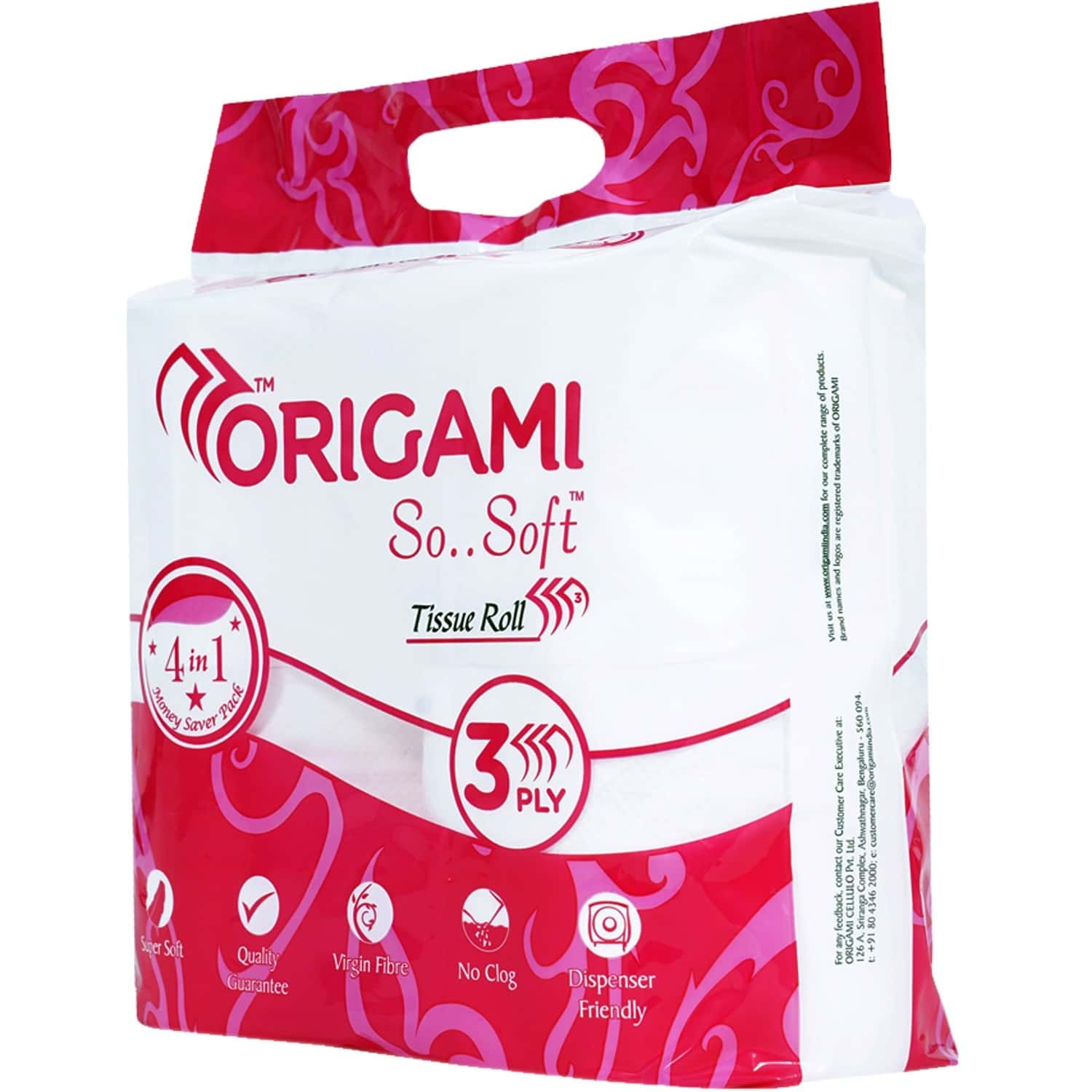 Origami So Soft Tissue Roll 4in1, 340 Pulls, 3 Ply