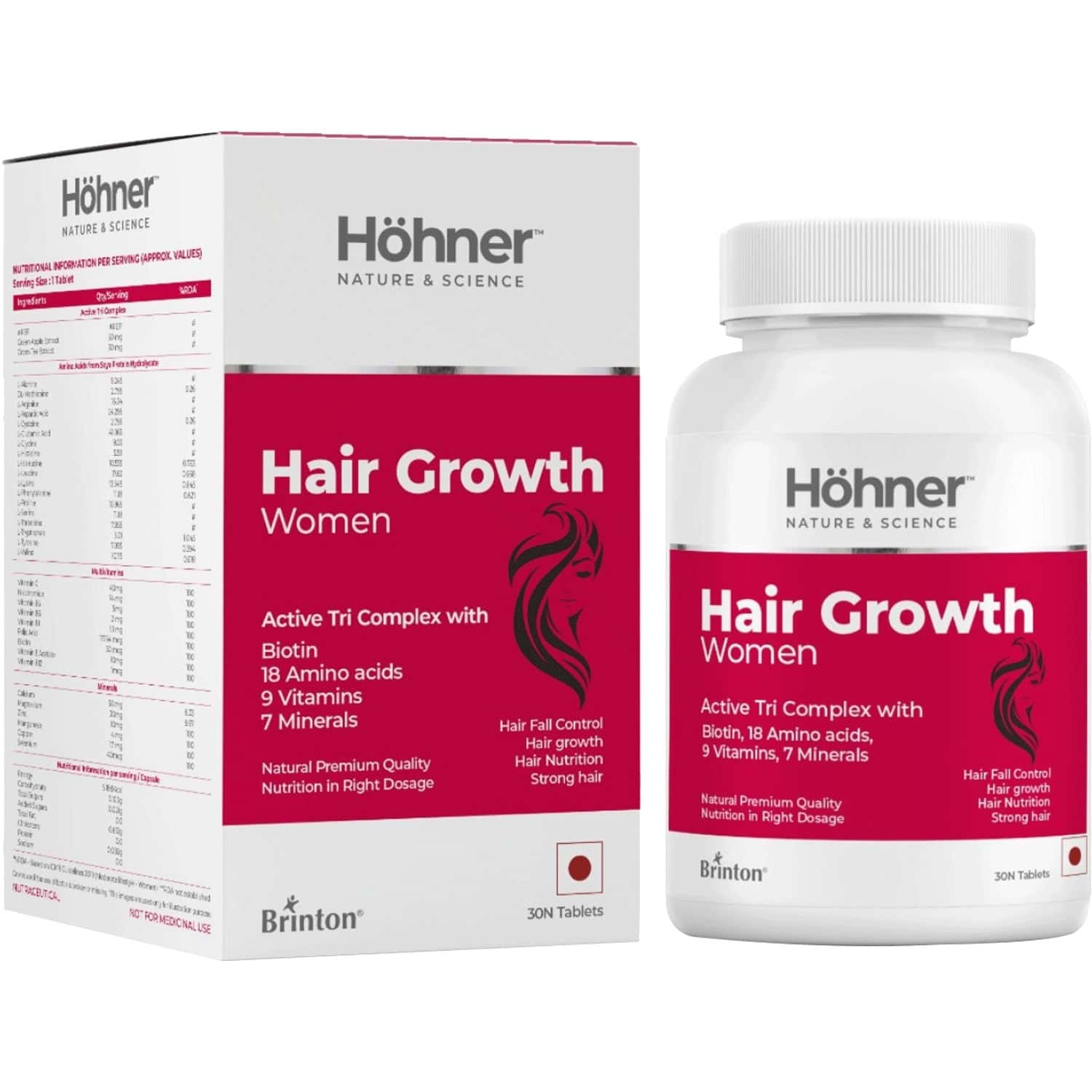 Hohner Hair Growth Women With Biotin, Amino Acids And Phyto-actives Hair Growth For Women 60 Tablet