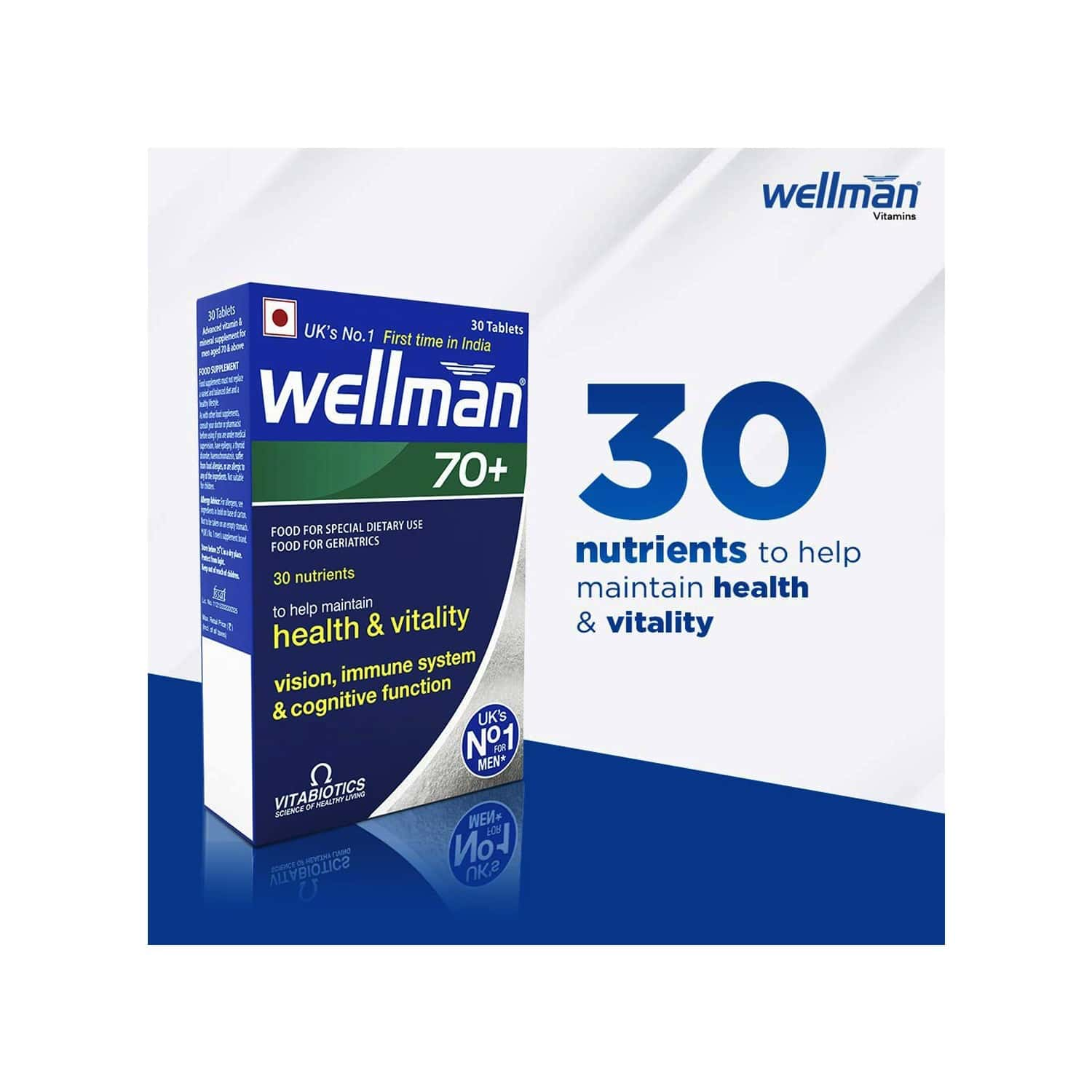 Wellman 70+ - Health Supplements (30 Nutrients) With Wellman 30 Tablet Free