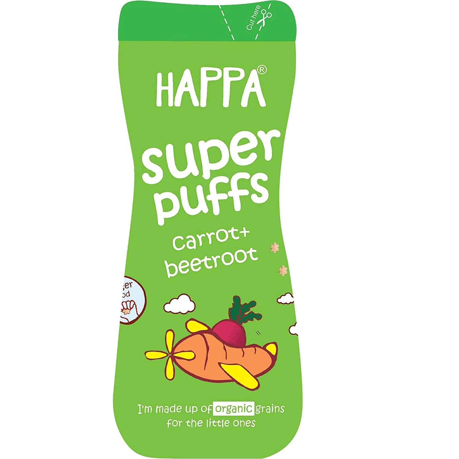 Happa Organic Baby Food Multigrain Carrot Beetroot Puffs Melts Super Puffs 8 Months+ Puree,pack Of 1