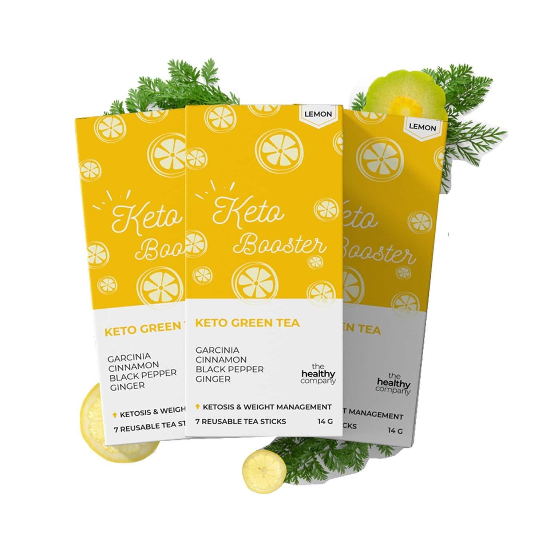 The Healthy Company One Month Keto Booster - 56 Lemon Flavoured Natural Keto Green Tea Sticks -diabetes Pcod Thyroid & Keto - Men & Women