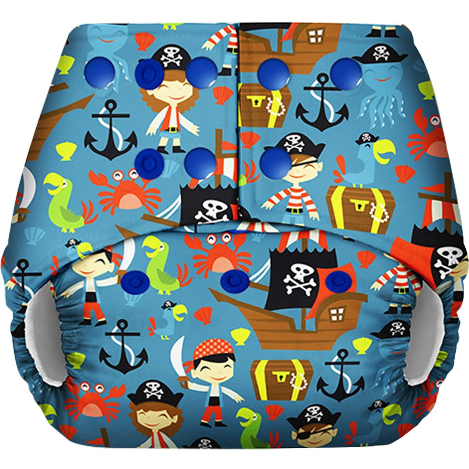 Basic - Freesize Reusable Pocket Cloth Diaper For Babies-with Dry Feel Insert - Pirate