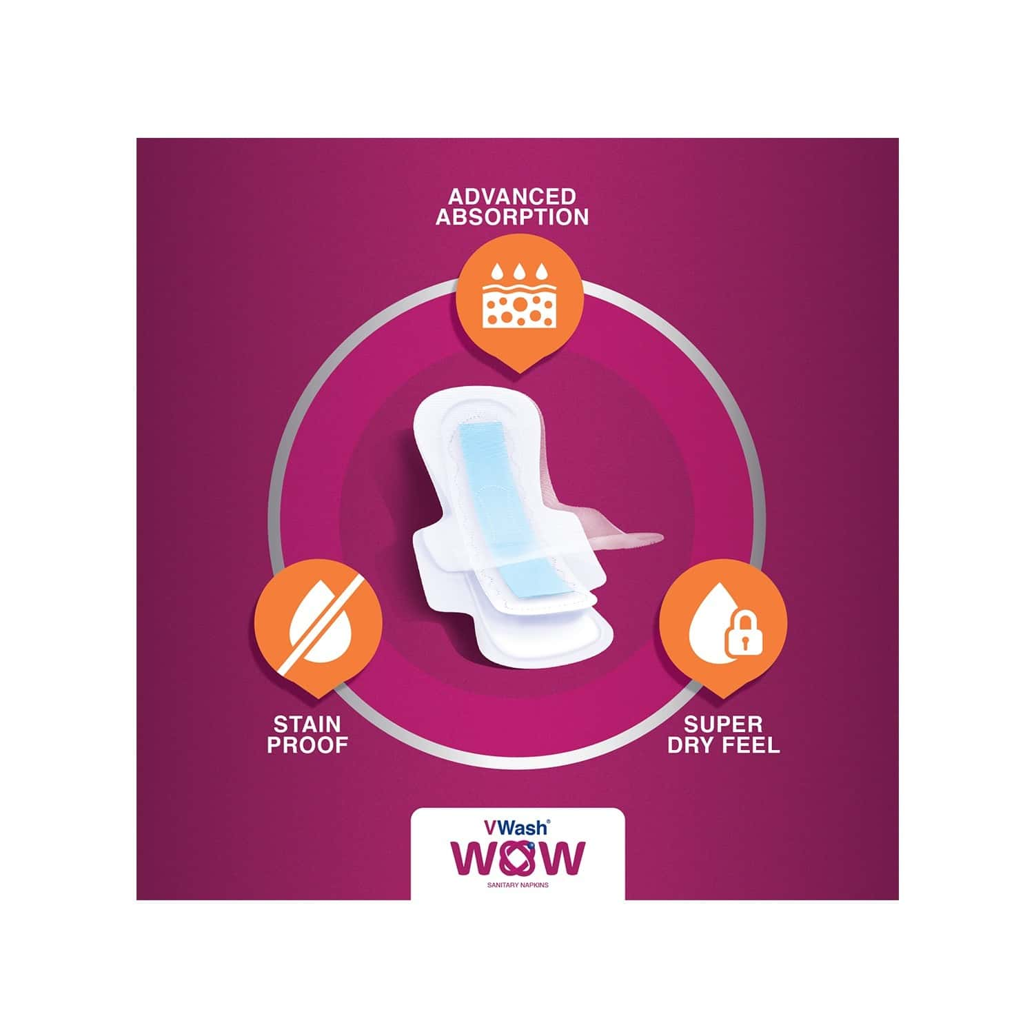 Vwash Wow Ultra Thin Size Xl Sanitary Pads Pack Of 16