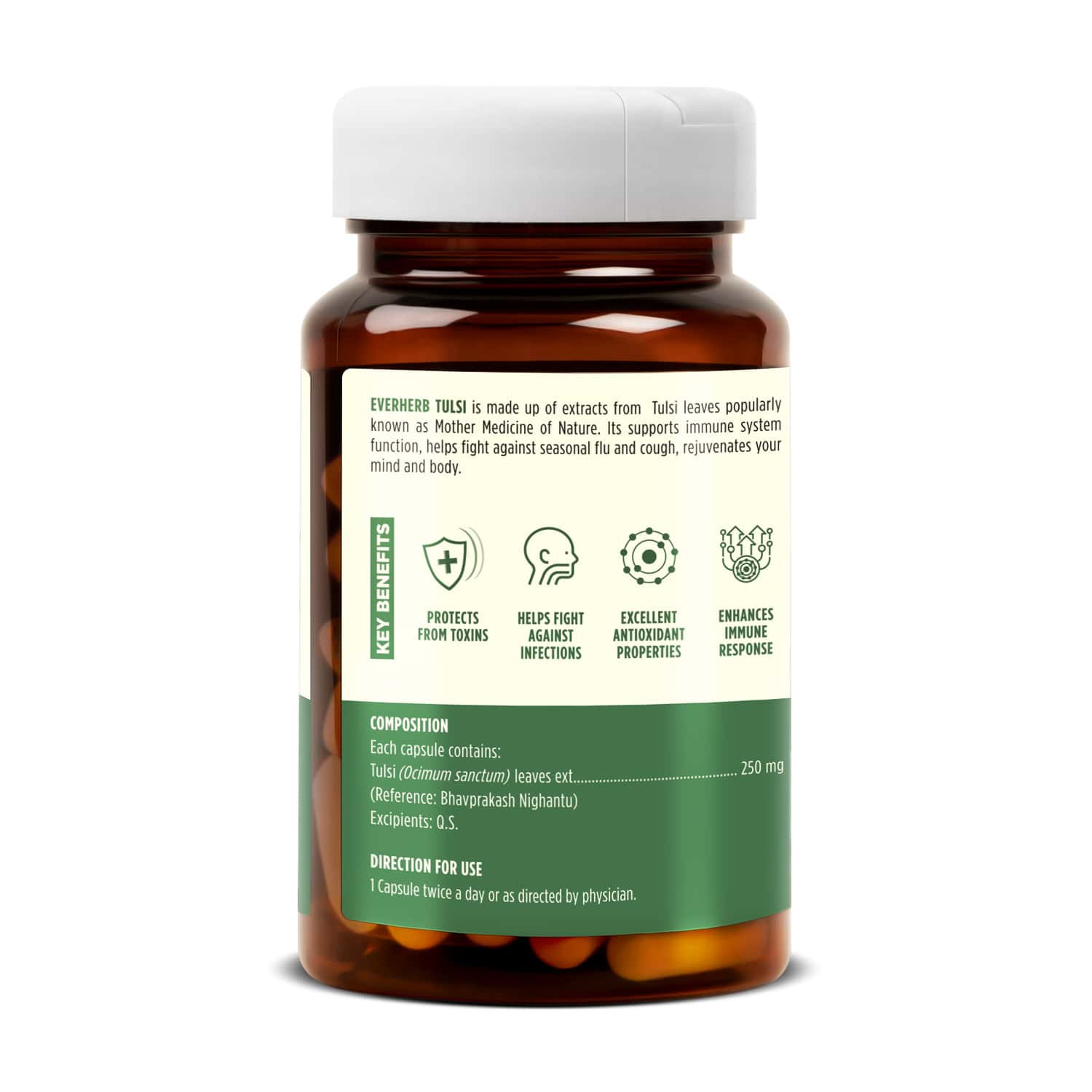 Everherb Tulsi - Immunity Booster Capsules - Fights Against Infection - Bottle Of 60