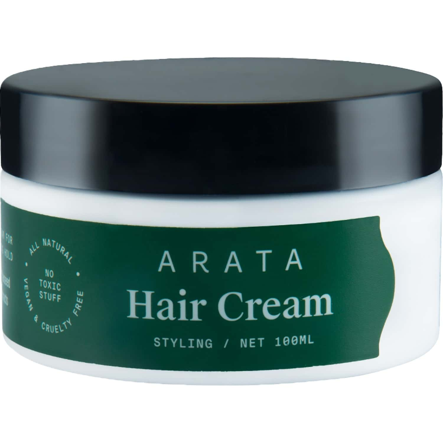 Arata Natural Styling & Hold Hair Cream With Organic Flaxseed & Olive Oil    All-natural, Vegan & Cruelty-free    Styling & Hair Growth Formula For Women & Men - (100 G)
