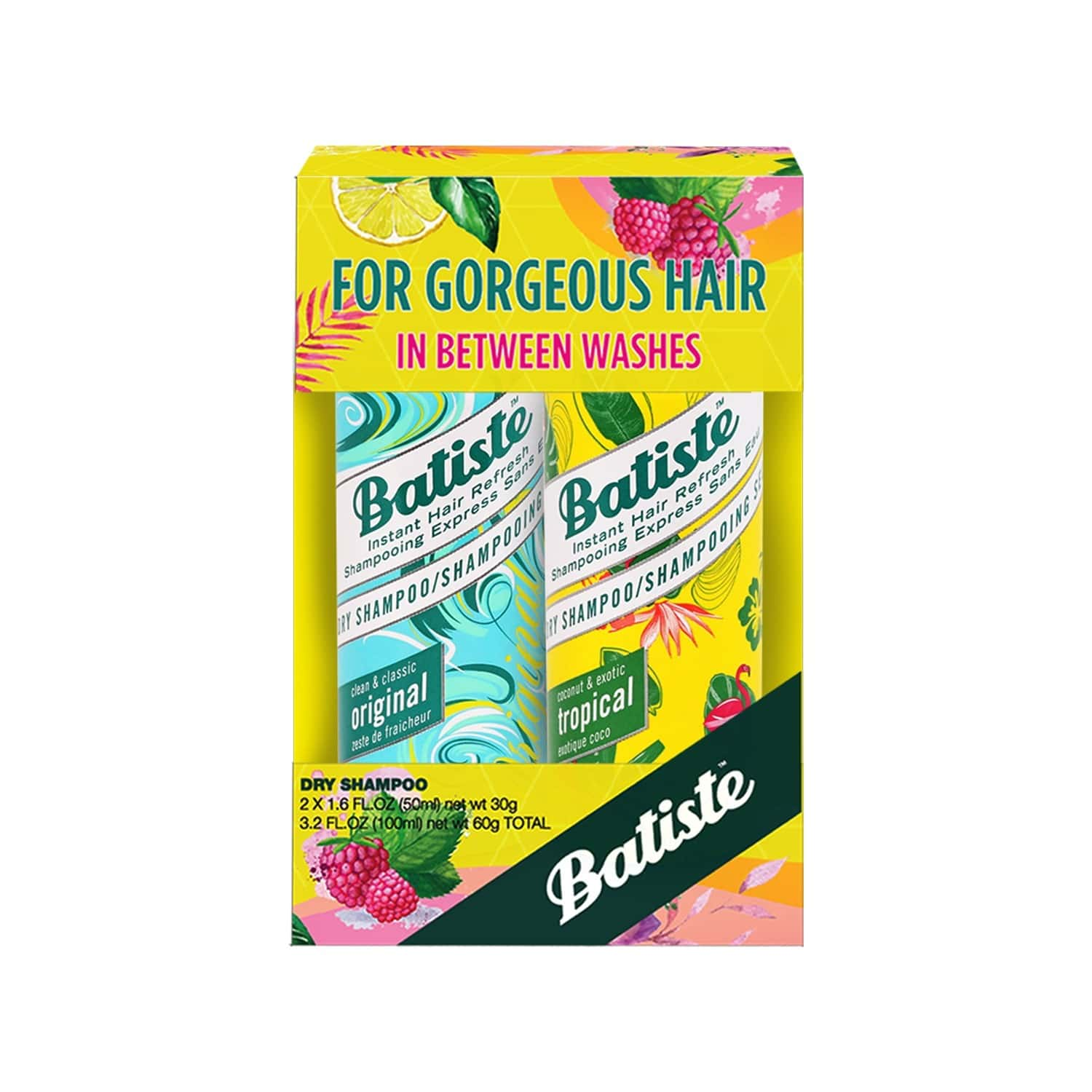 Batiste Clean & Classic Original, Coconut & Exotic Tropical Dry Shampoo - 100ml (pack Of 2 X 50ml)
