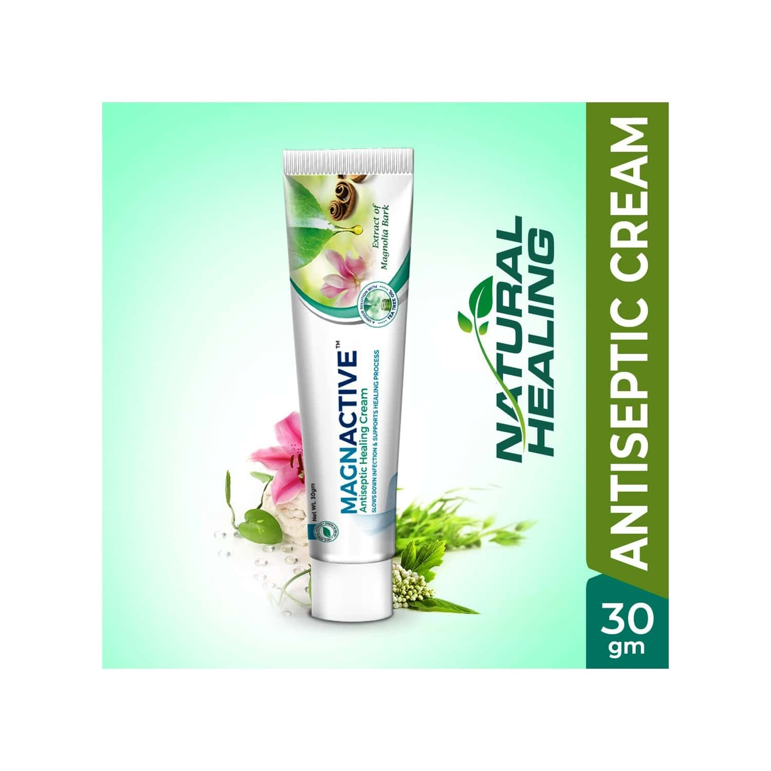 Green Cure Magnactive Herbal Antiseptic Cream For Cuts, Scratches, Minor Burns, Wounds And Chapped Skin With Magnolia & Tea Tree Leaf Oil - 30gm