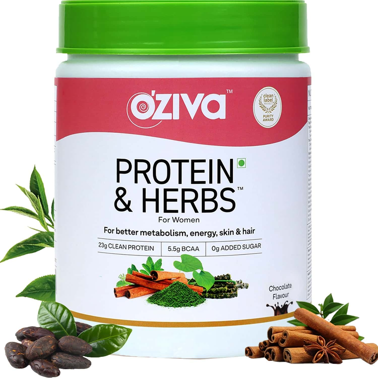 Oziva Protein & Herbs For Women - Natural Protein With Whey, Ayurvedic Herbs & Multivitamins For Better Metabolism, Skin & Hair- 500 Gm, Chocolate