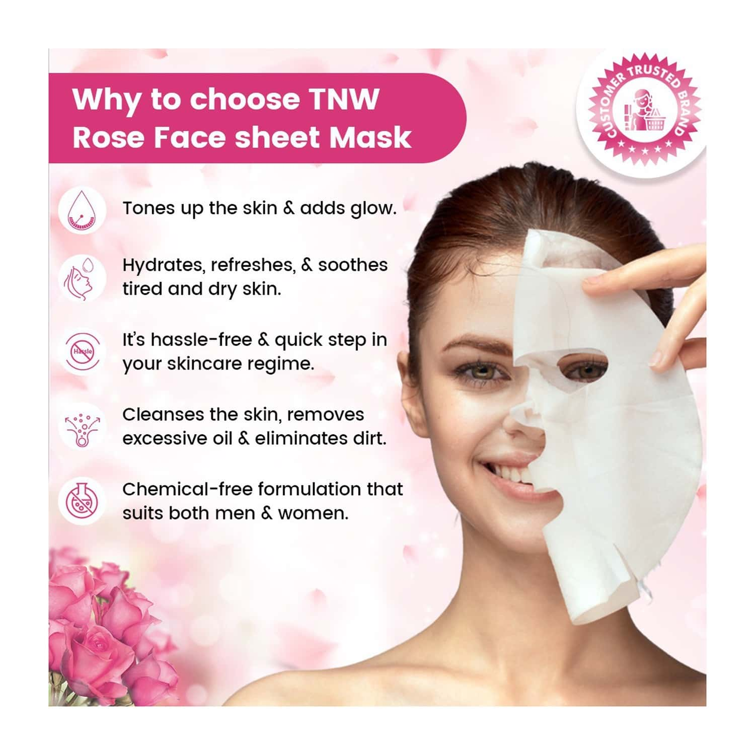 Tnw - The Natural Wash Rose Face Sheet Mask - Pack Of 3