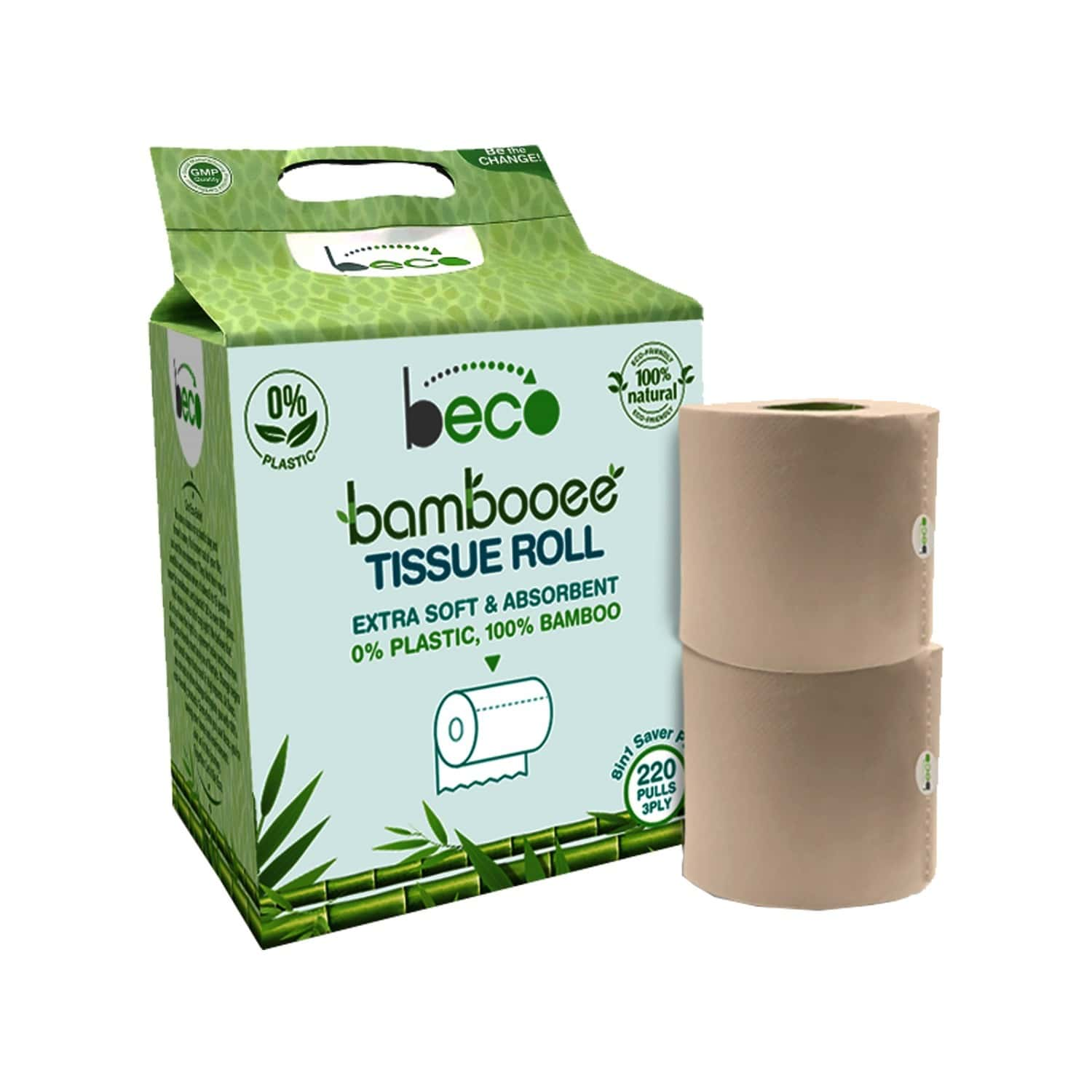 Beco Bambooee Tissue Roll (3 Ply) - 220 Pulls - Pack Of 8 (value Pack)