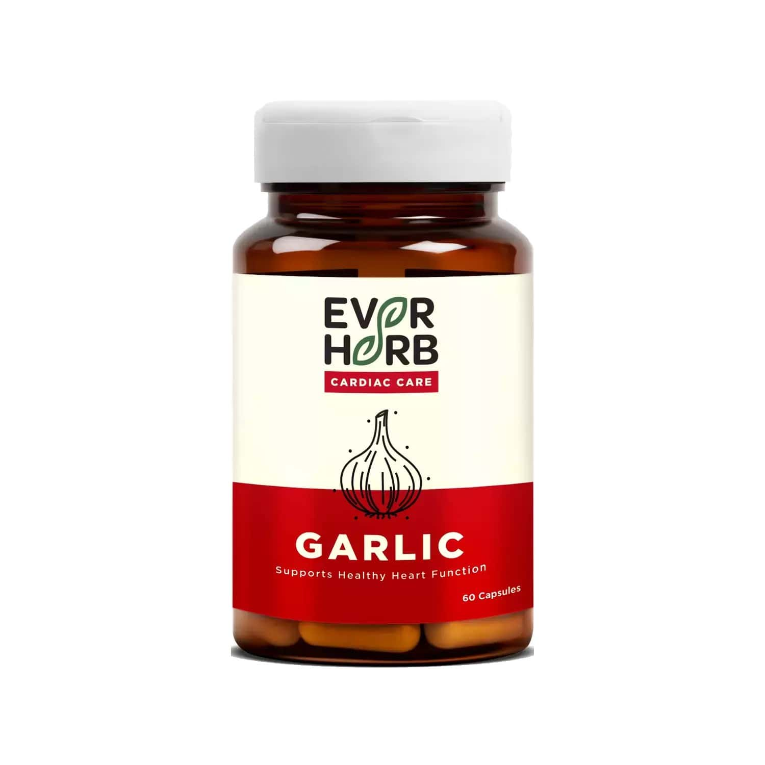 Everherb Garlic 500mg - Pure Garlic Bulb Extracts - Improves Blood Circulation - Bottle Of 60