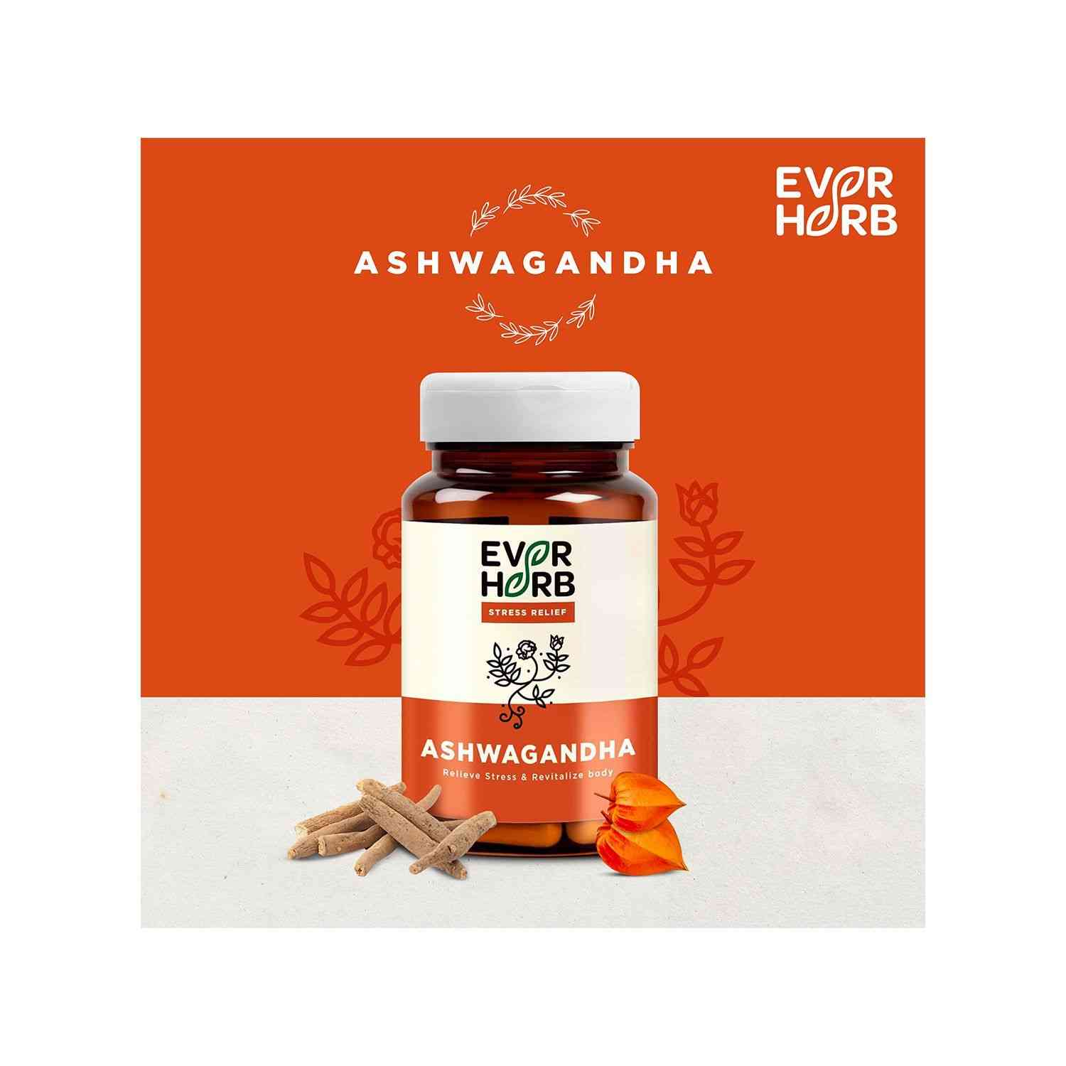 Everherb Ashwagandha - Immunity Booster Capsules - Anxiety & Stress Relief - Bottle Of 60