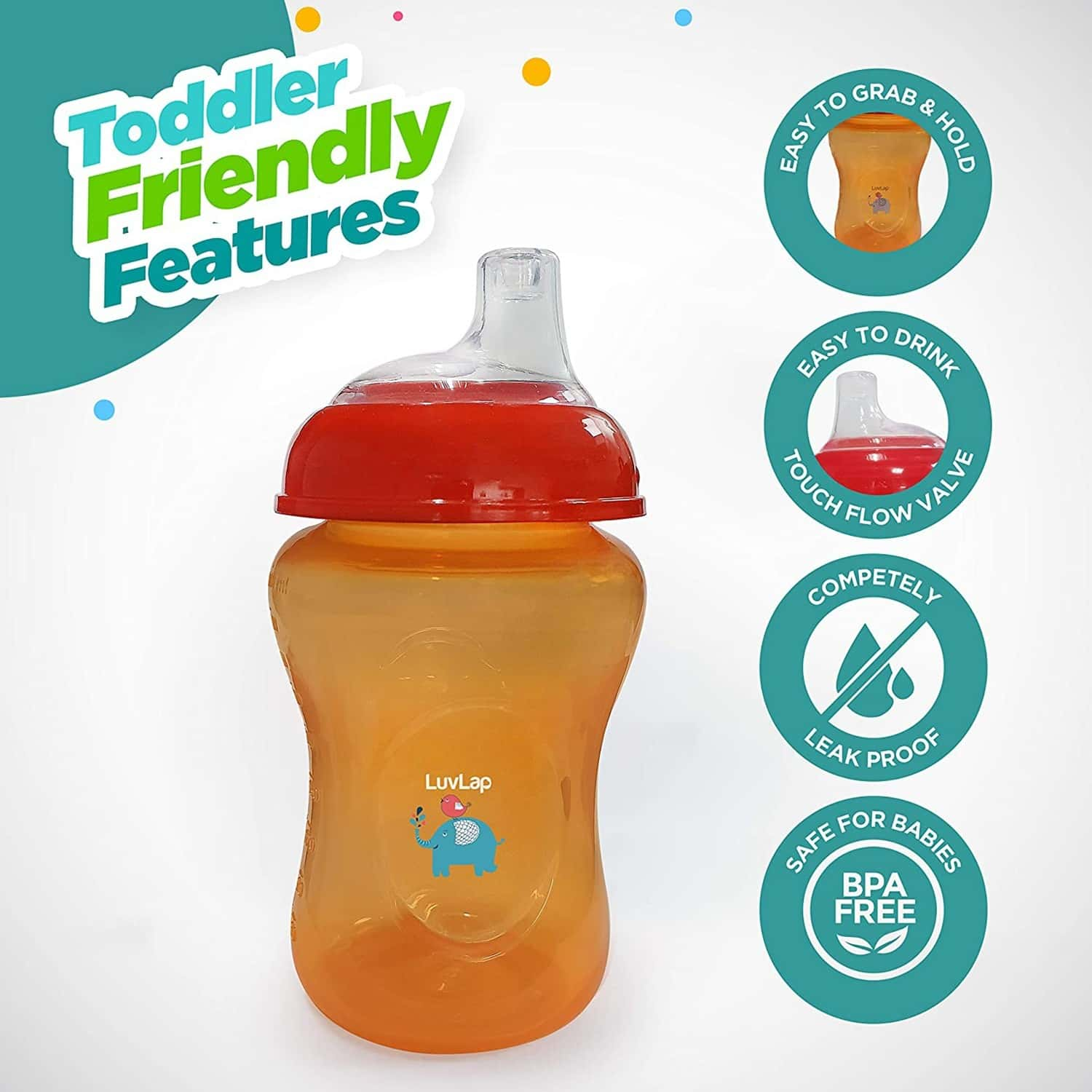 Luvlap Jumbo Sky Sipper/ Sippy Cup 300ml, Anti-spill Design With Soft Silicone Spout, 6m+ (orange)