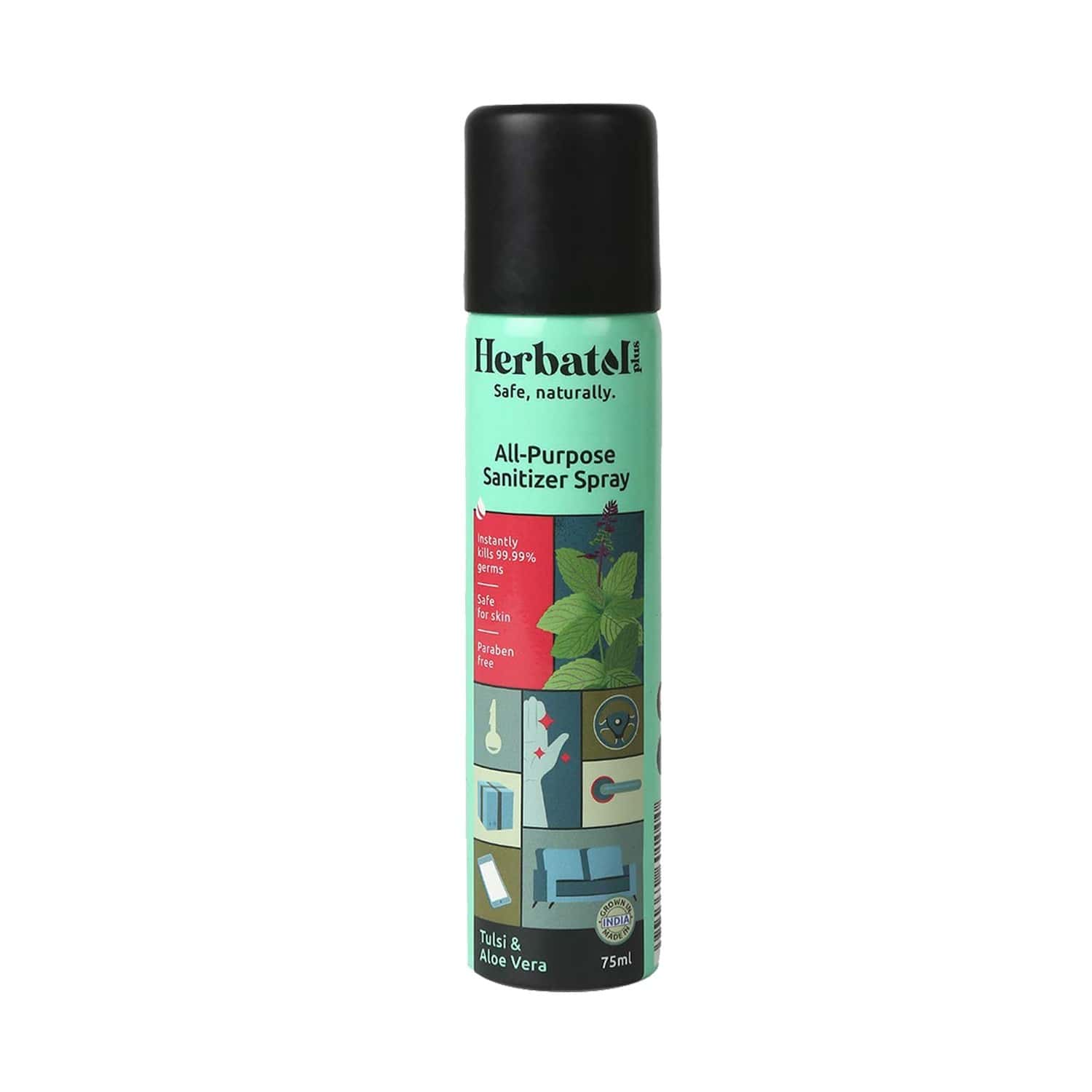 Herbatol Plus All Purpose Hygiene Spray With 99.99% Germ Protection | Enriched With Aloe Vera & Tulsi - 75ml