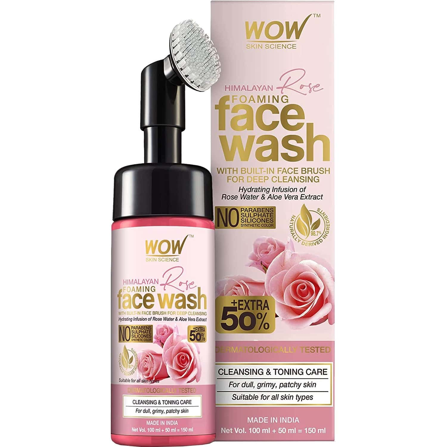 Wow Skin Science Himalayan Rose Foaming Face Wash With Built-in Face Brush - 150 Ml