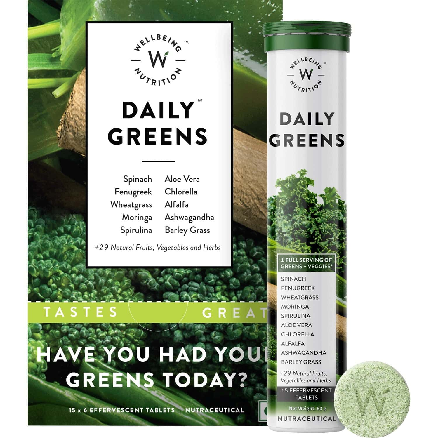 Wellbeing Nutrition Daily Greens, Organic Wholefood Multivitamin-pack Of 6x15 Tablets