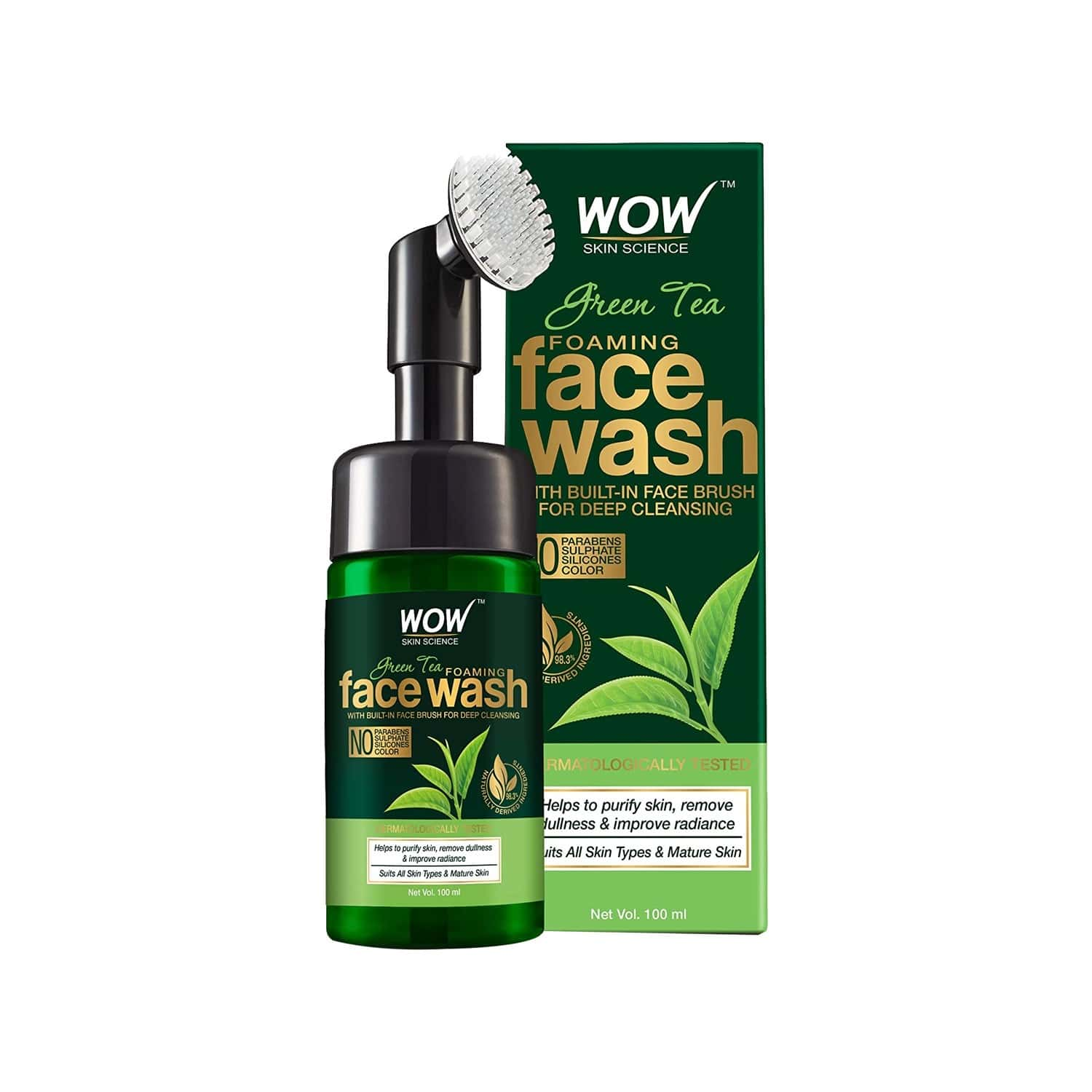 Wow Skin Science Green Tea Foaming Face Wash With Built-in Face Brush - 100 Ml