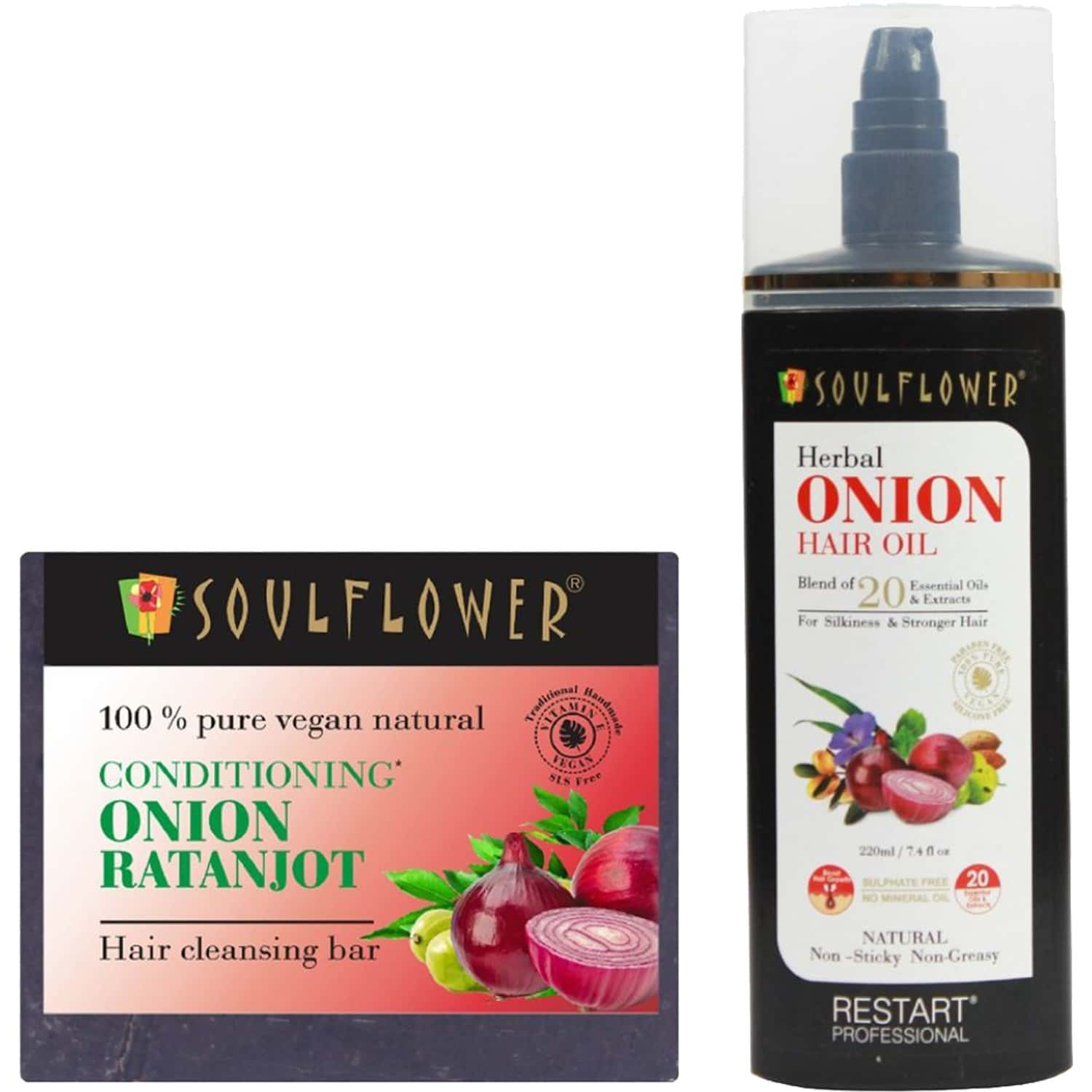 Soulflower Onion Hair Oil ( 220ml )& Conditioning Onion Ratanjot Hair Cleansing Bar (150g)