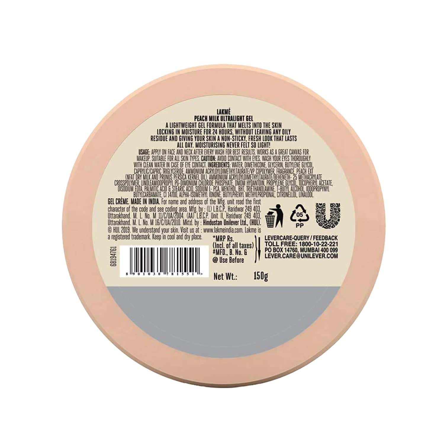 Lakme Peach Milk Ultra Light Gel-65 G