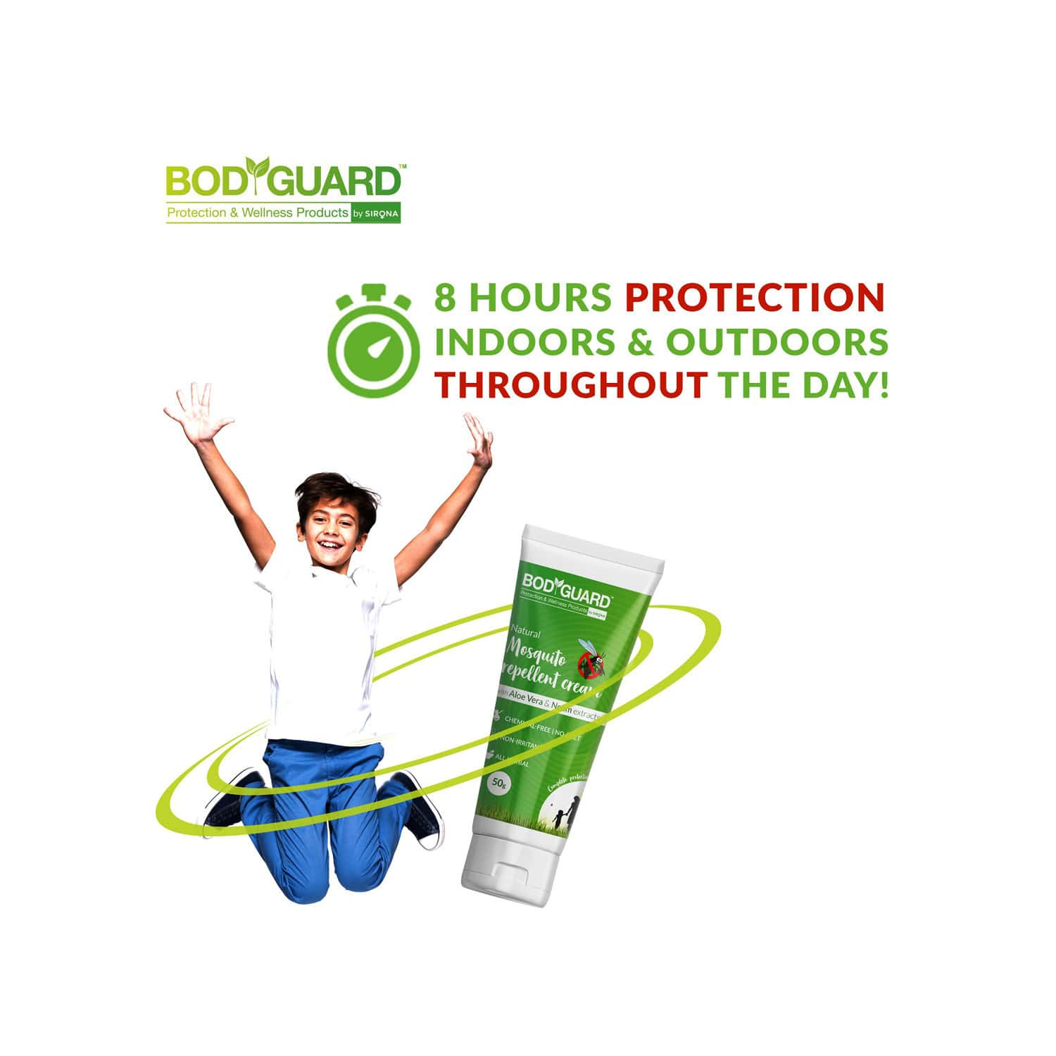 Bodyguard Natural Mosquito Repellent Cream With Aloe Vera And Neem Extracts - 100 Gm
