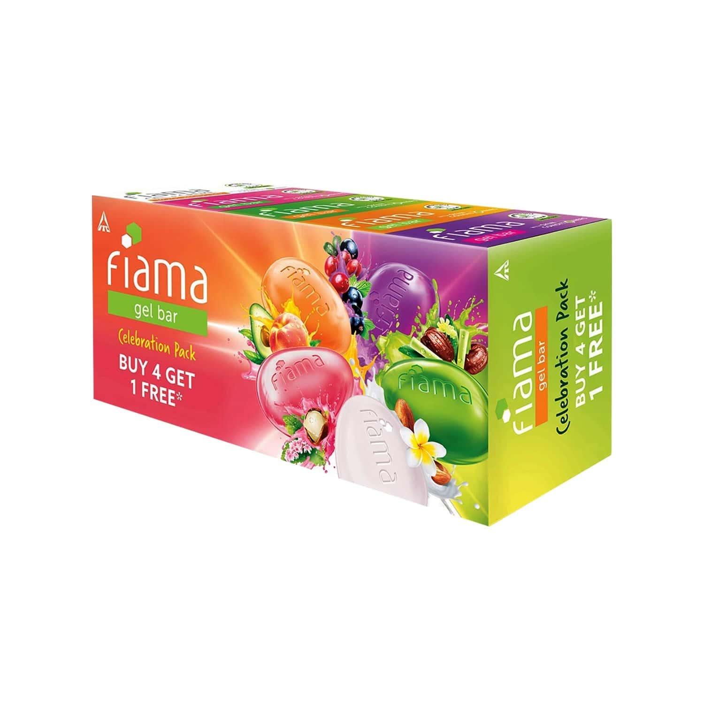 Fiama Gel Soap Bar Celebration Pack With 5 Multi Variant Gel Soap Bars - 125g (buy 4 Get 1 Free)