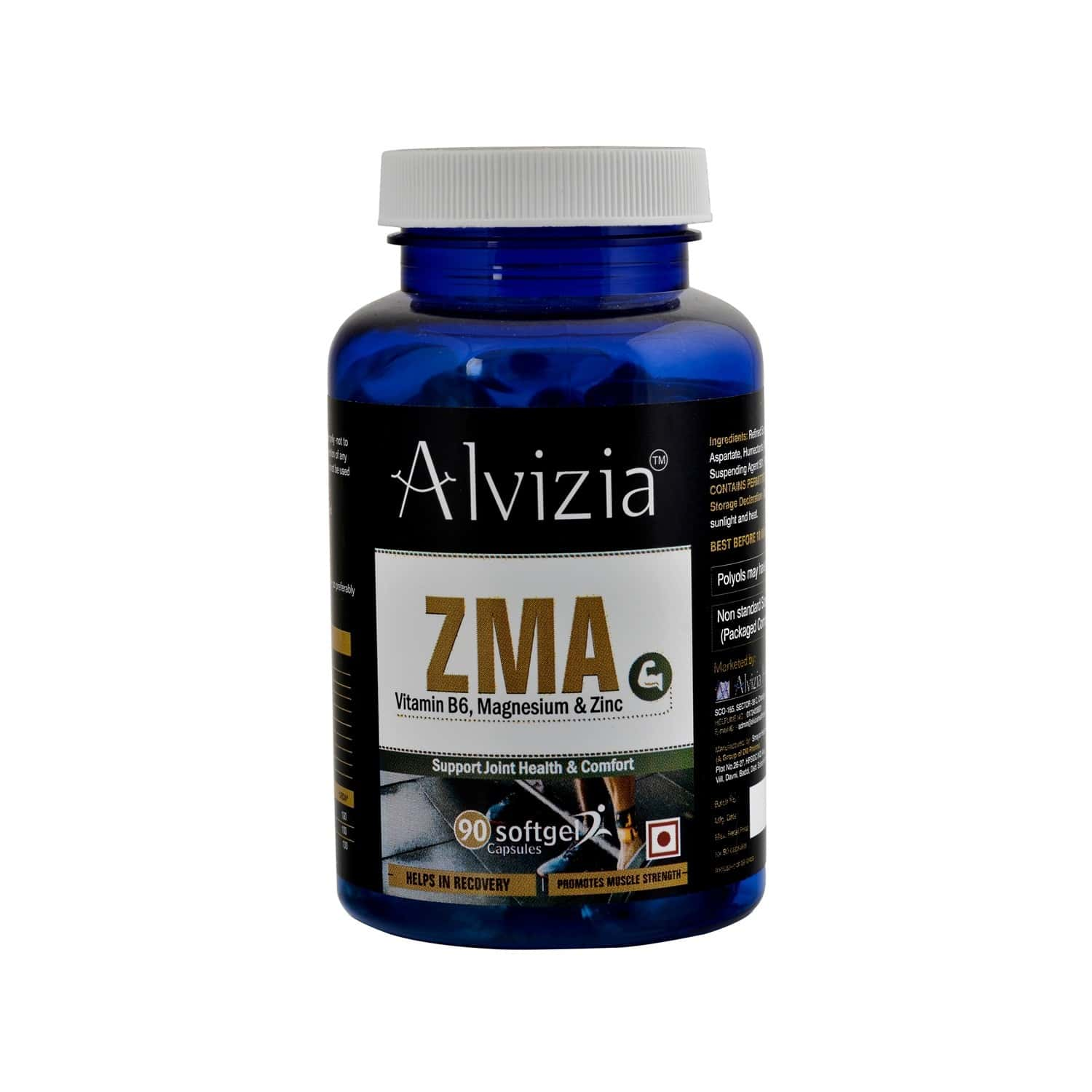 Alvizia Zma Supplements For Men With Zinc Magnesium & Vitamin B6 Supplement ( Immunity Booster, Muscular Strength & Power, Improves Testosterone Levels, Builds Metabolism) - 90 Softgel Capsules