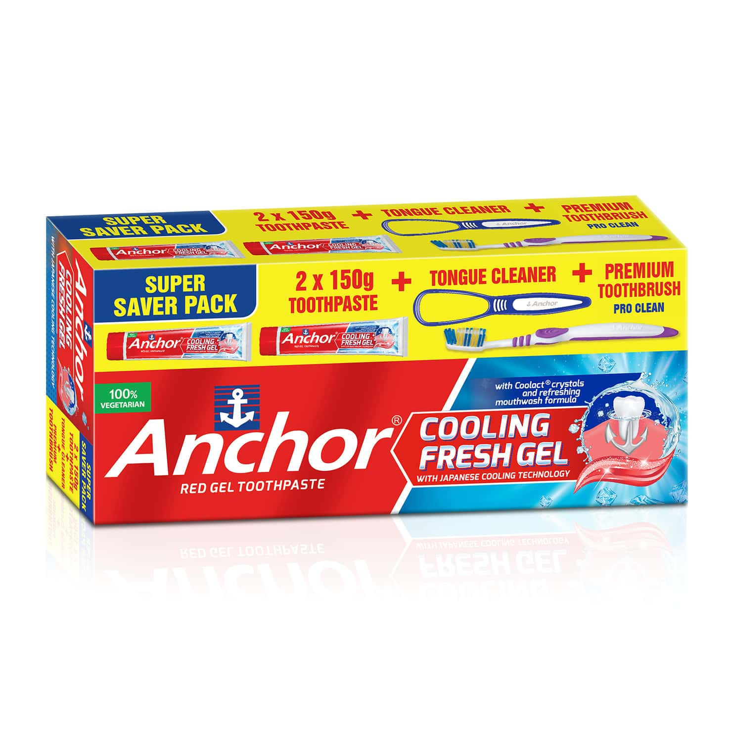 Anchor Cooling Fresh Gel Toothpaste Kit  Box Of 300 G (150gm X 2)