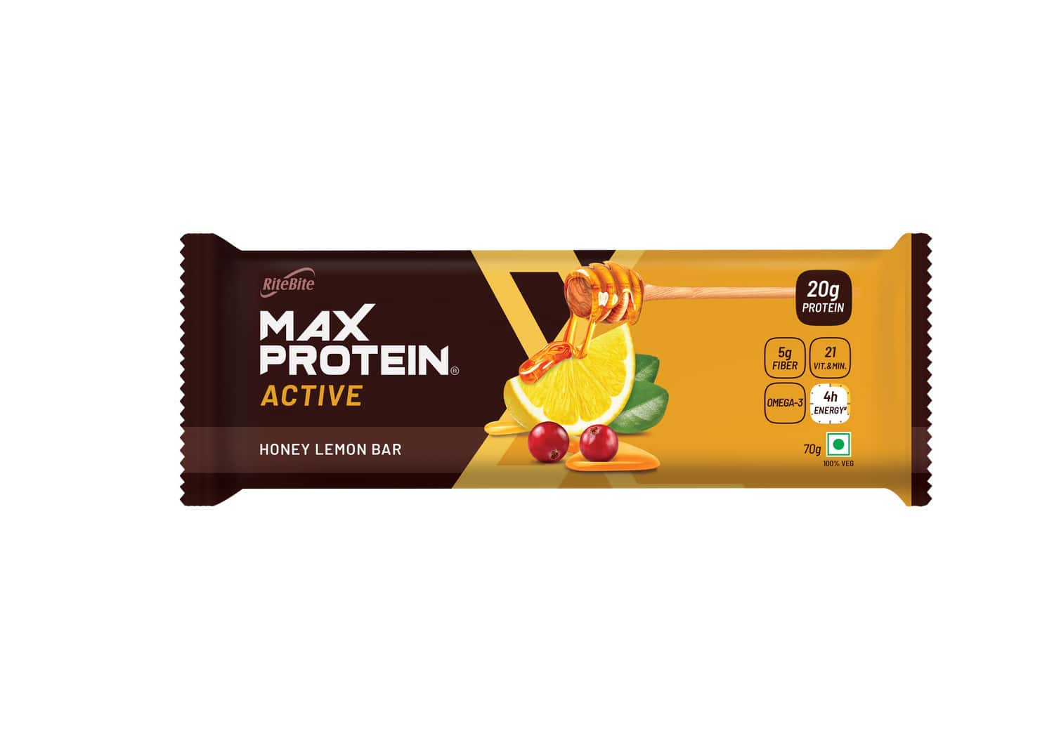 Ritebite Max Protein Active Honey Lemon Nutrition Bar Box Of 210 G
