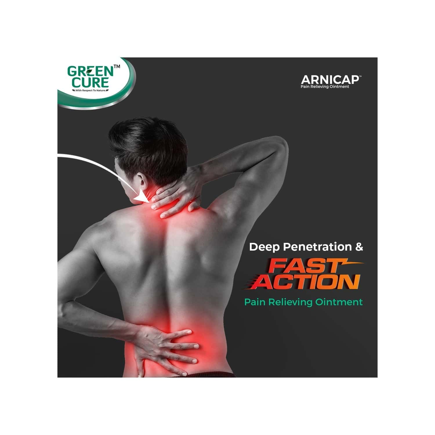 Green Cure Arnicap Herbal Pain Relieving Cream For Back Pain, Knee Pain With Ginger, Camphor & Menthol - 50gm