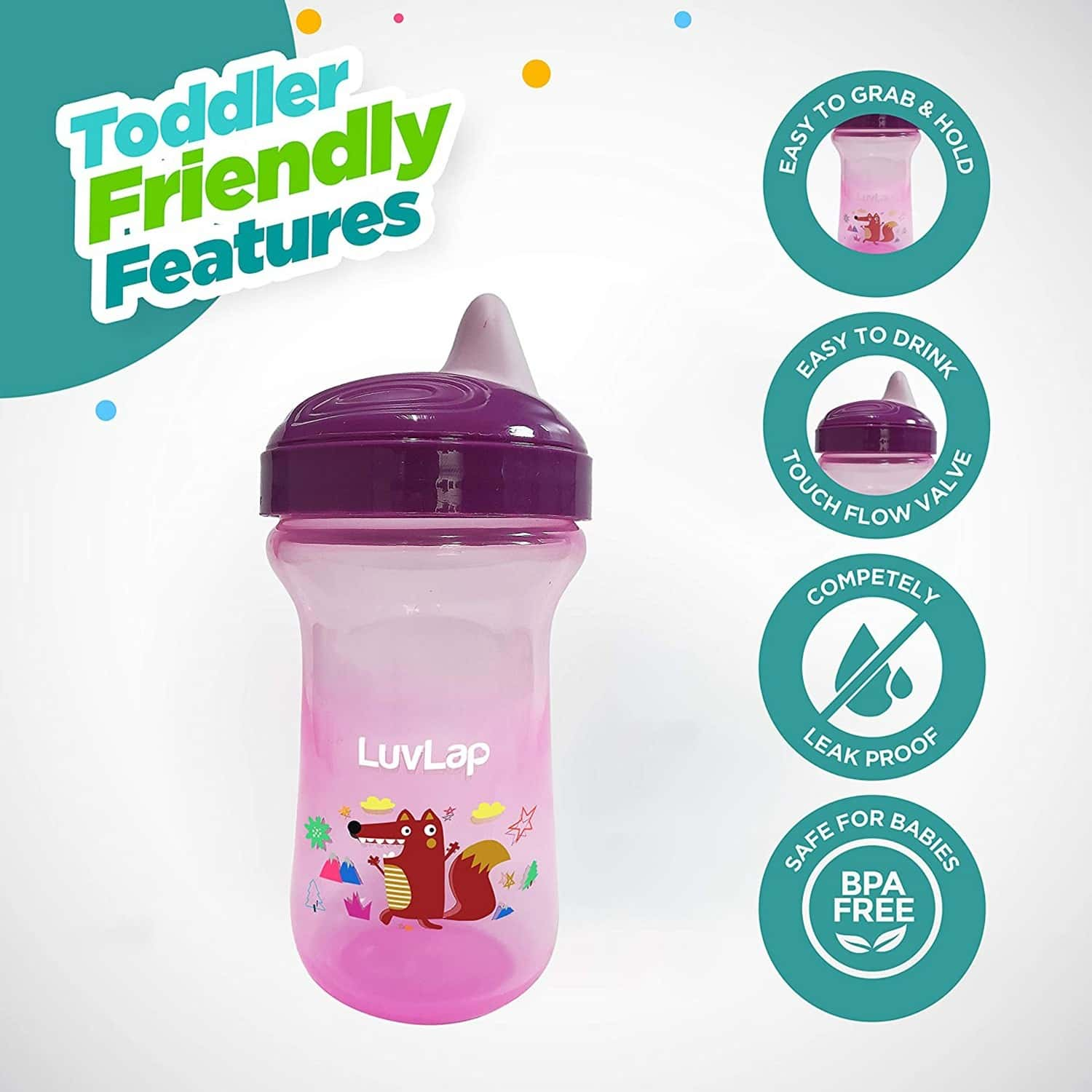 Luvlap Little Fox Sipper/sippy Cup 300ml, Anti-spill Design With Easy Sip Spout, 6m+ (pink)
