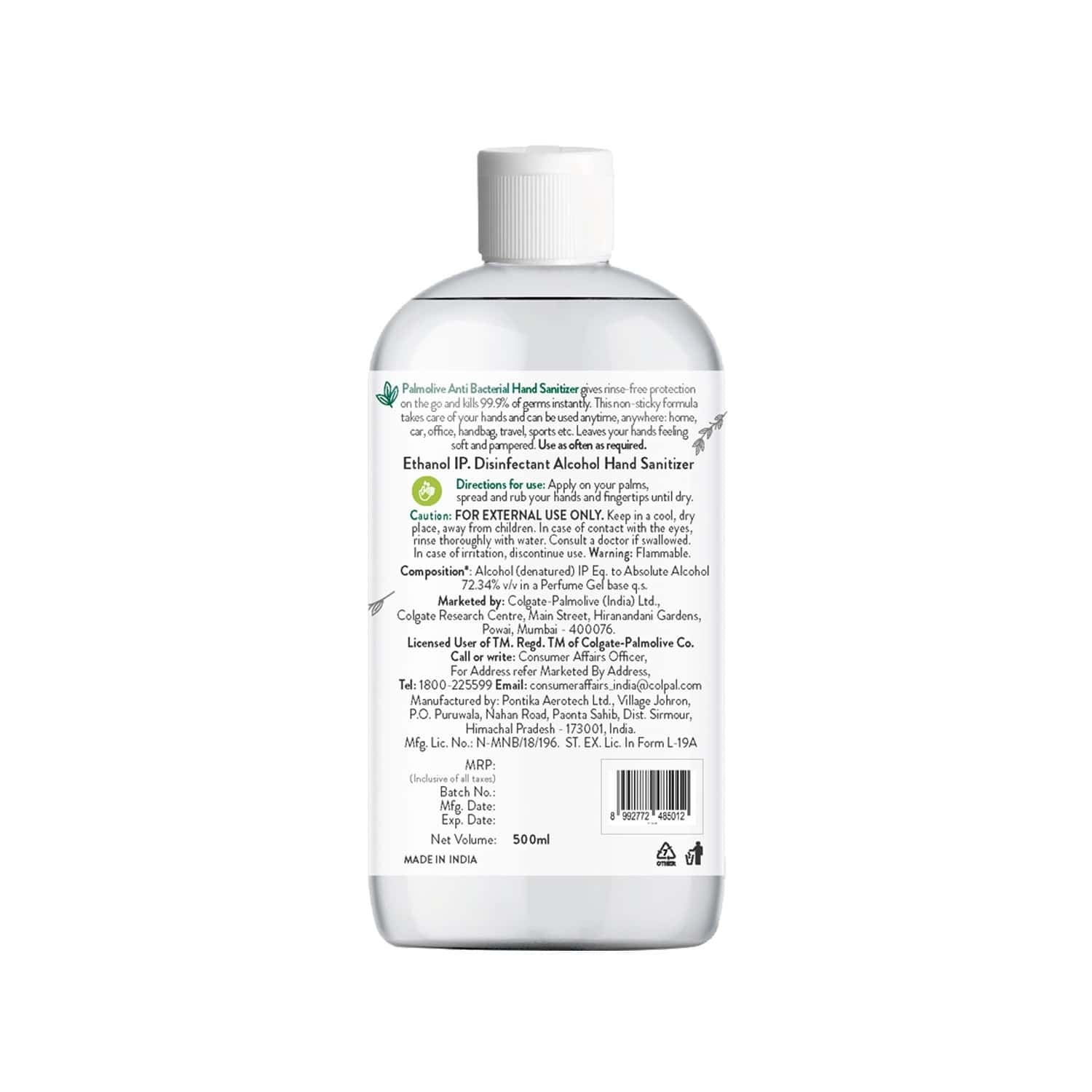 Palmolive Anti Bacterial  Hand Sanitizer  Bottle Of 500 Ml