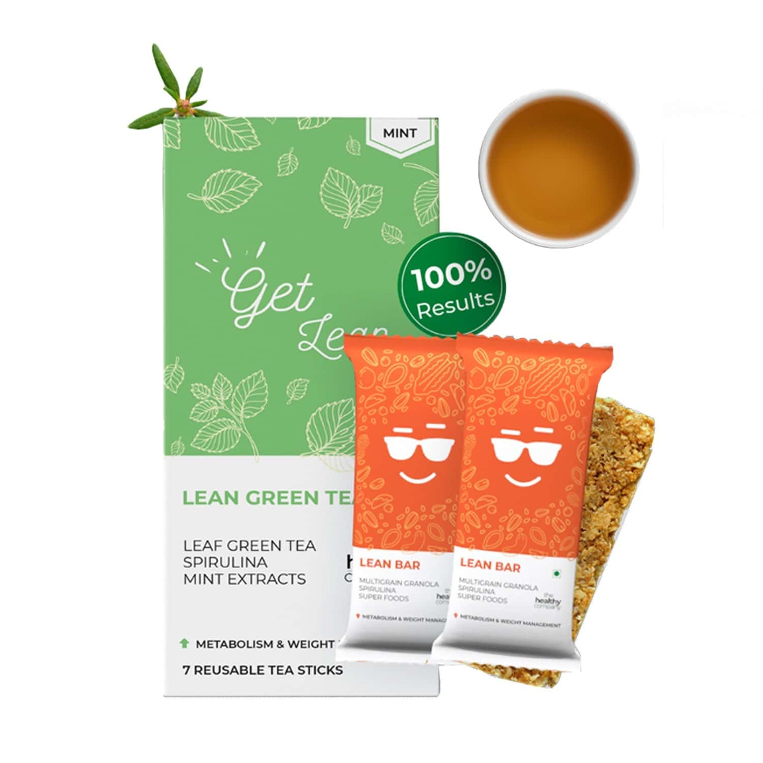 The Healthy Company One Month Weight Loss - 28 Lean Bar + 28 Peach Flavoured Natural Green Tea Sticks -diabetes Pcod Thyroid & Keto - Men & Women