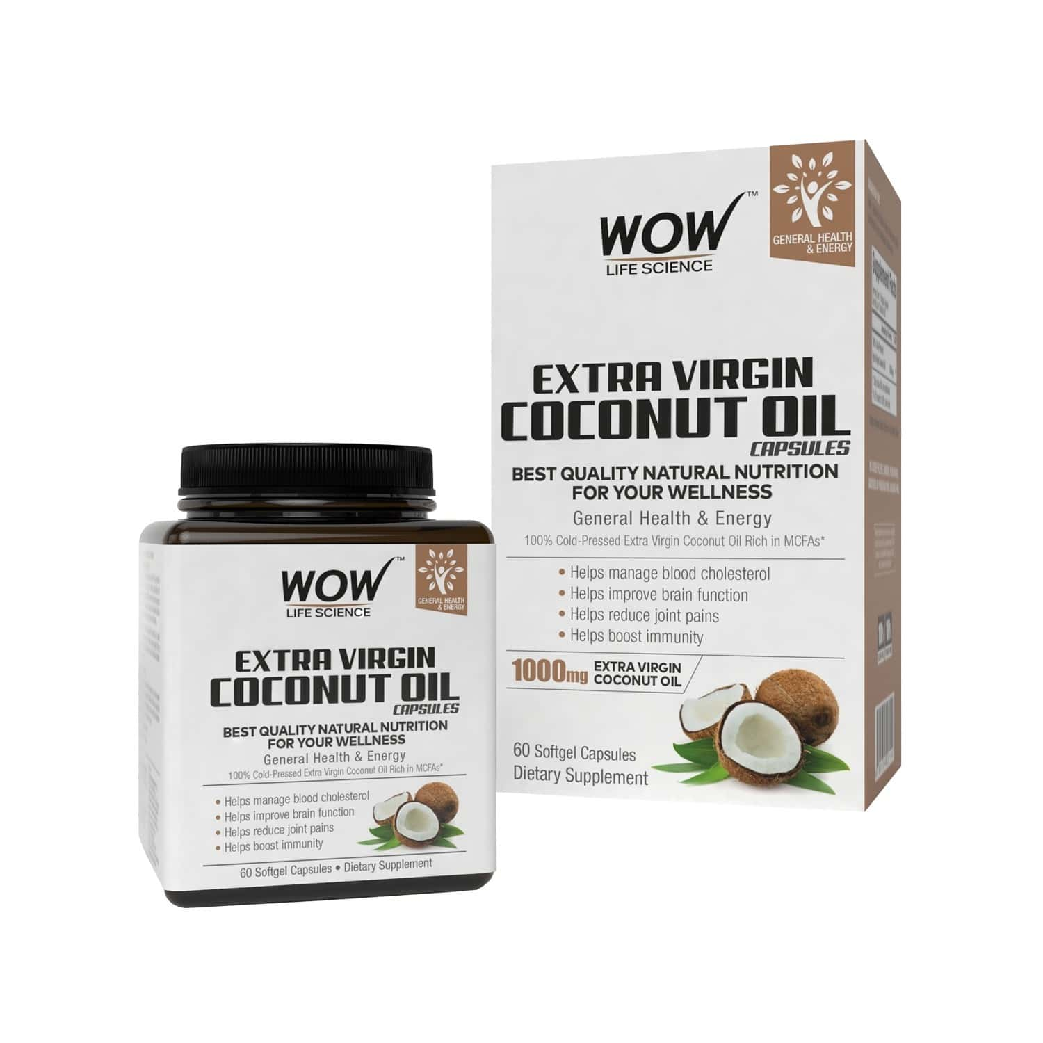 Wow Life Science Extra Virgin Coconut Oil - 60 Softgel Capsules