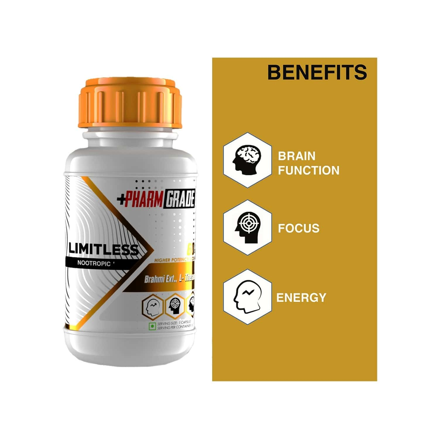 Pharmgrade Limitless Nootropics Brain Booster Supplement - Brahmi Extract For Ultra Focus Supports Memory & Brain Health - 60 Tablets