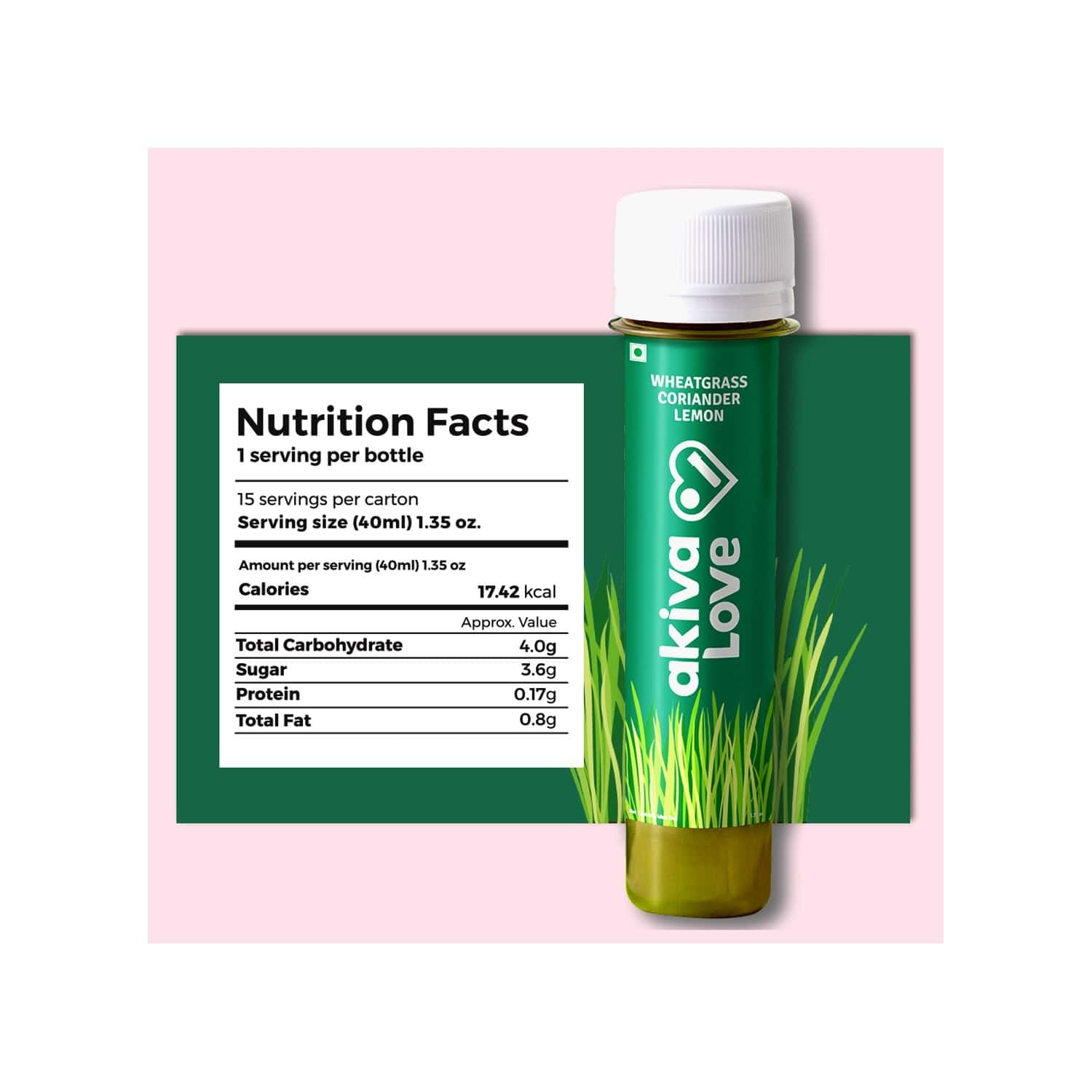Akiva Love Wellness Shots With Wheatgrass Lemon & Coriander (15 Shots X 40ml) - 600ml