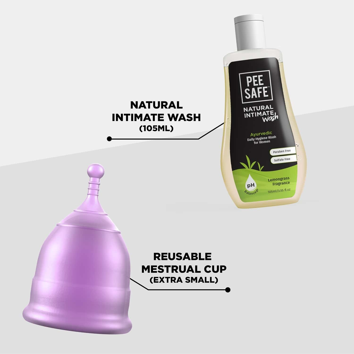 Pee Safe Menstrual Hygiene Combo Reusable Menstrual Cup (extra Small) With Natural Intimate Wash For Women - 105 Ml