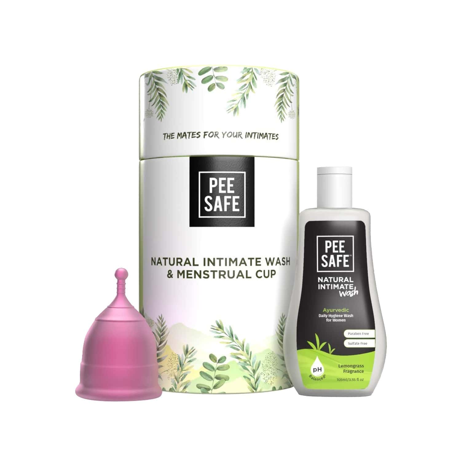 Pee Safe Period Care Combo- Menstrual Cup (small) & Intimate Wash Women 105 Ml