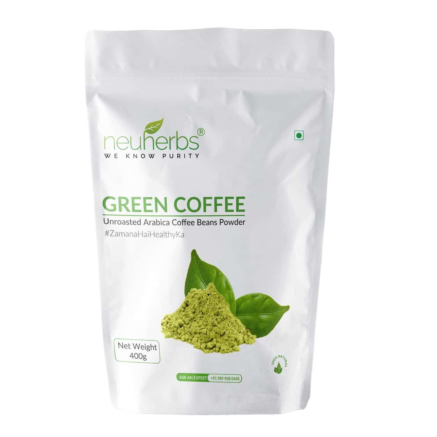 Neuherbs Unroasted Green Coffee Beans Powder For Weight Loss - 400g